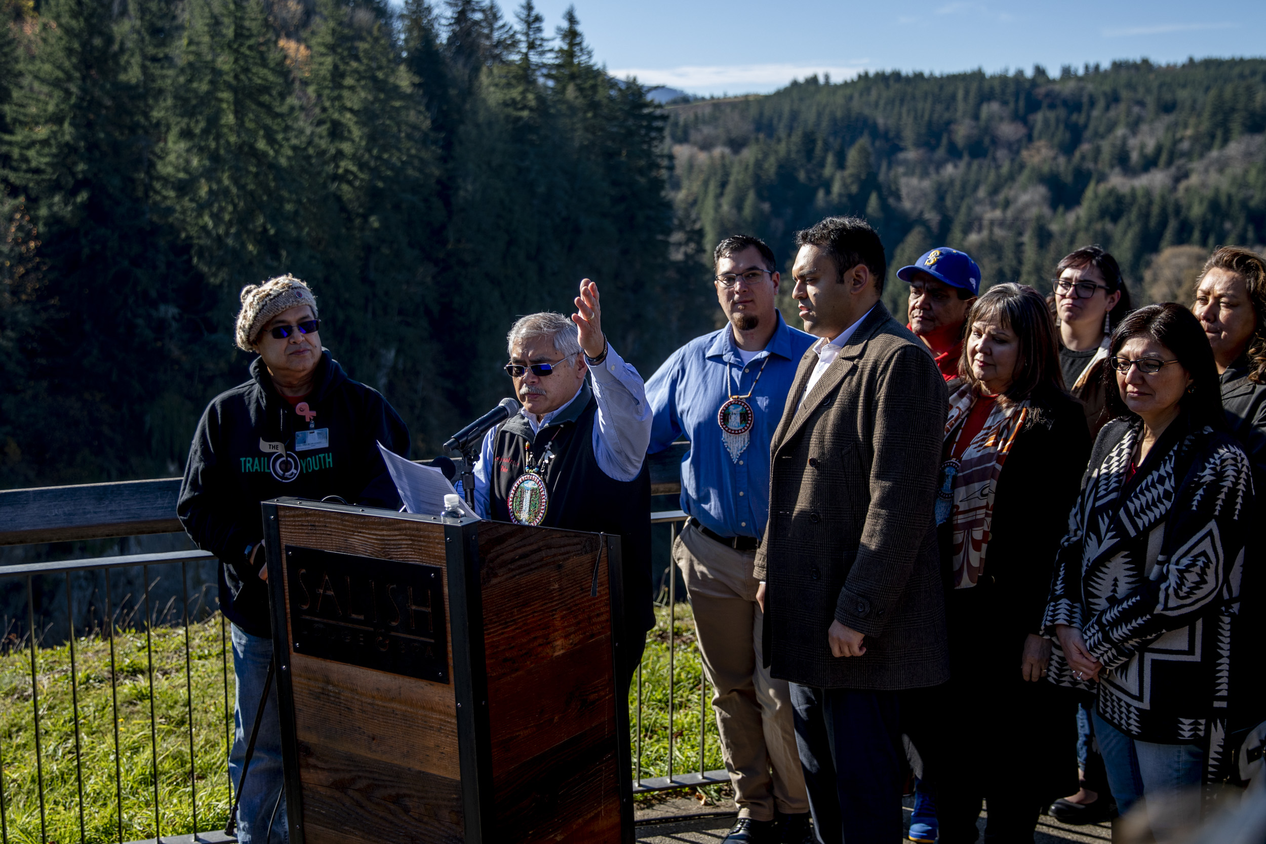 Press conference next to Snoqualmie Falls