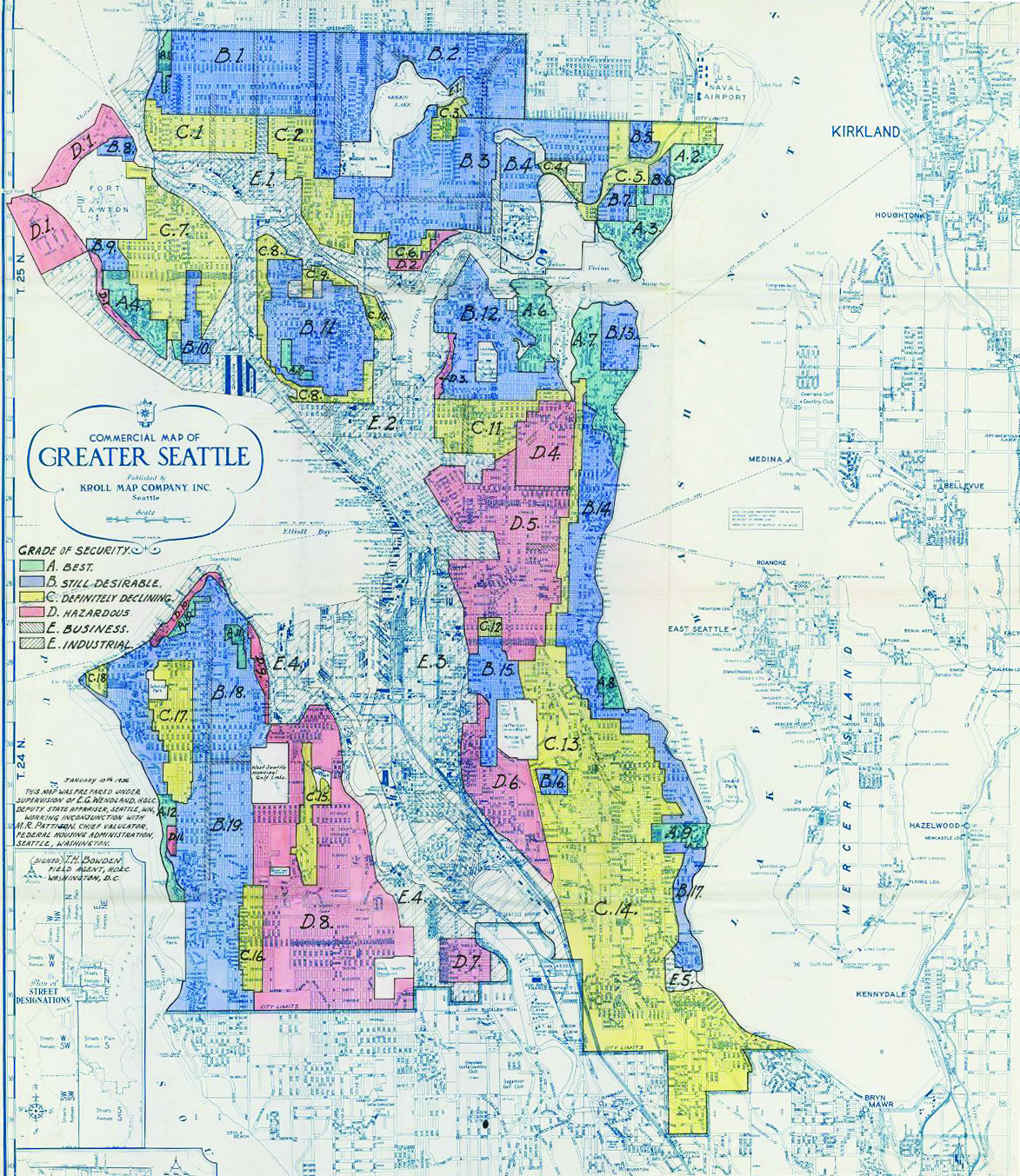Redlining map of Seattle