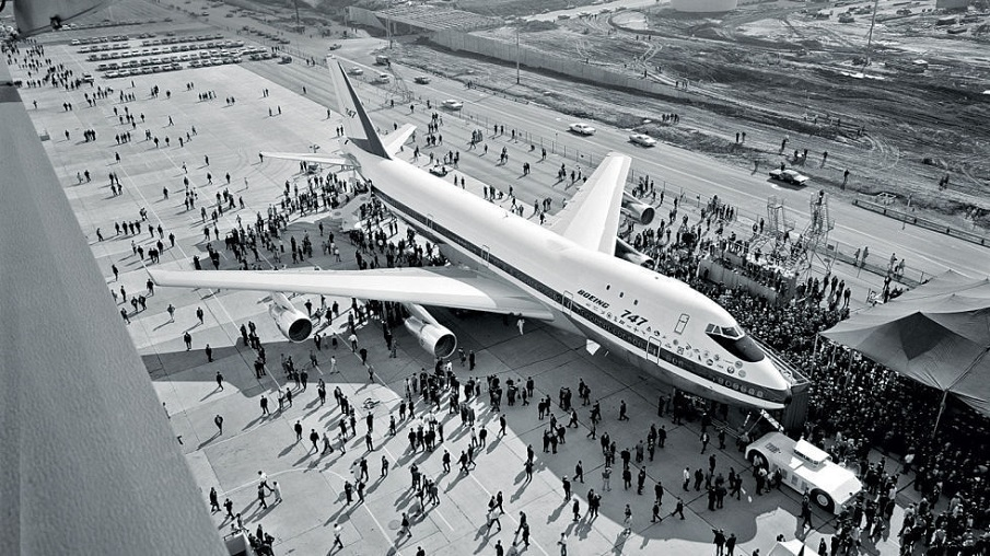 Boeing rolls out the first 747 in September, 1968. Photo courtesy of Boeing.