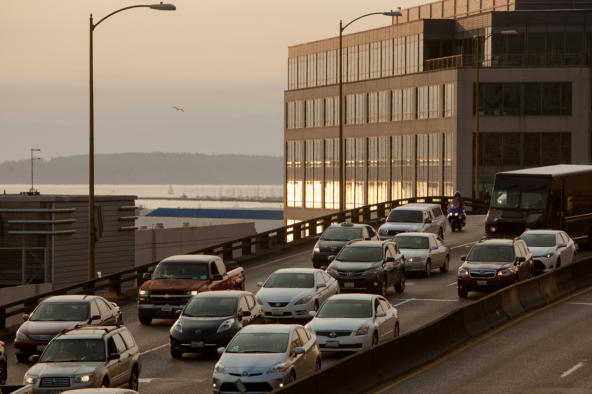 Traffic crosses the old Highway 99 viaduct in downtown Seattle