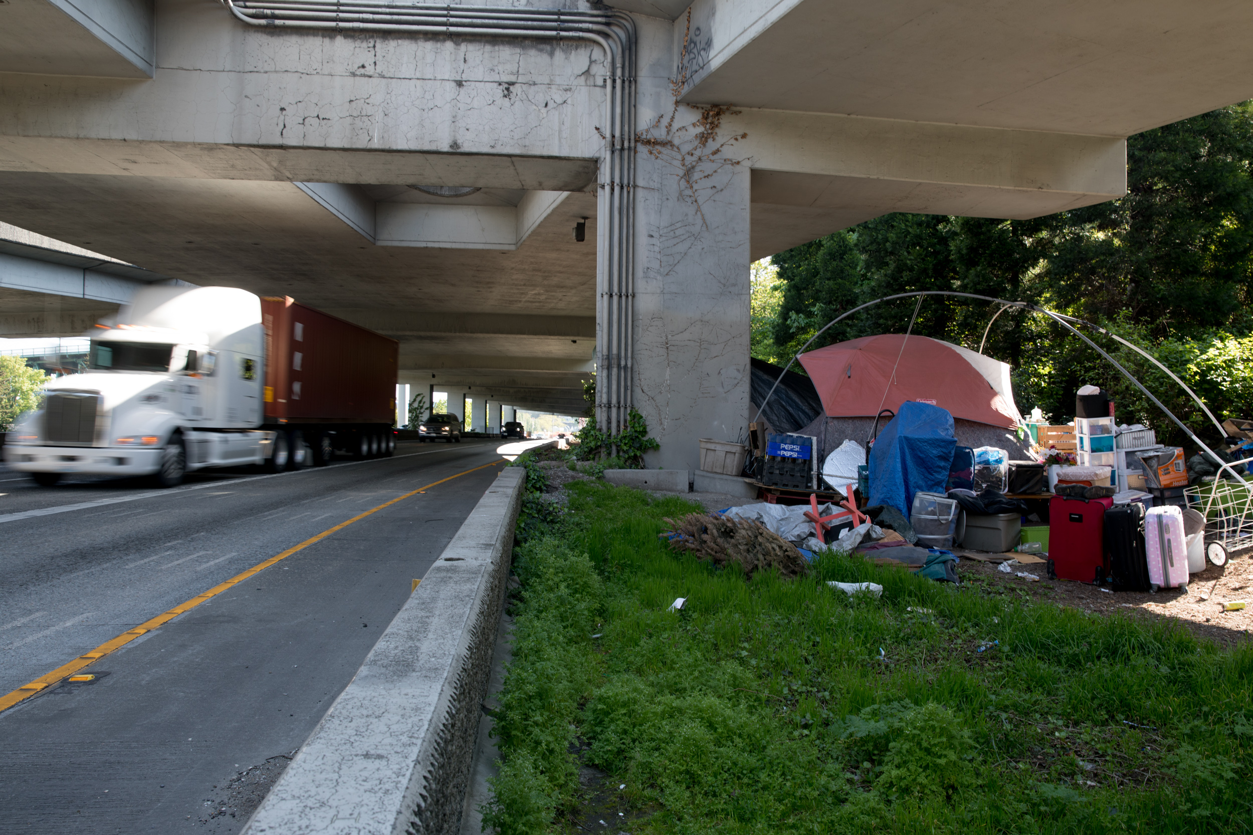 A homeless encampment, referred to as The Jungle, underneath freeway overpasses in Seattle.