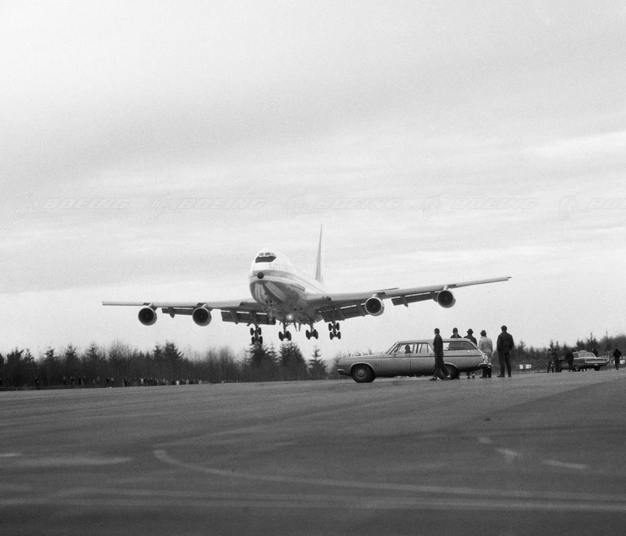 The 747's first landing. Photo courtesy of Boeing.