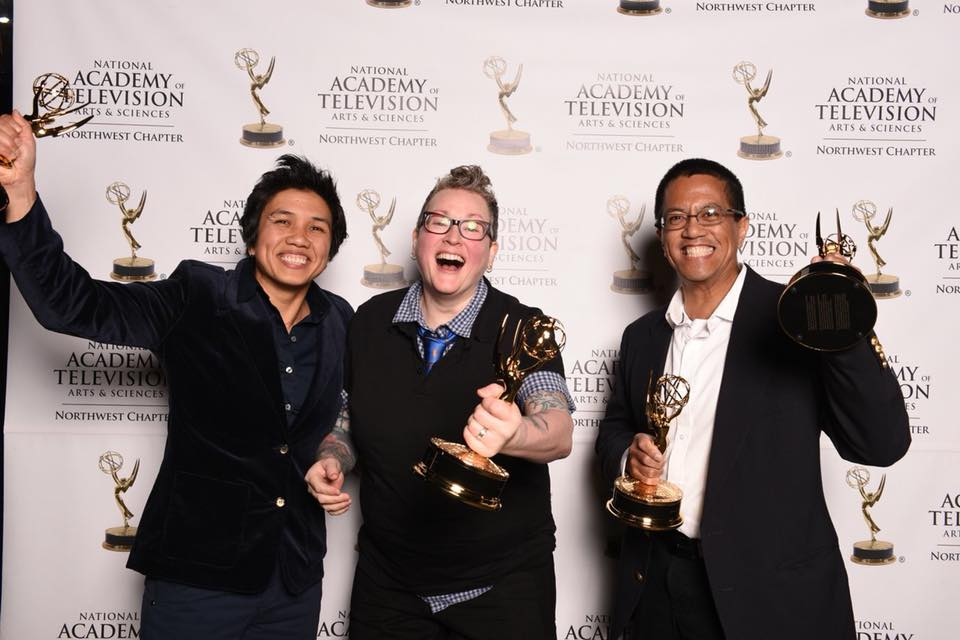 KCTS 9 team members Aileen Imperial, Amy Mahardy and Resti Bagcal at the 55th NW Regional Emmy Awards.