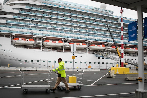 A cruise ship, the Ruby Princess
