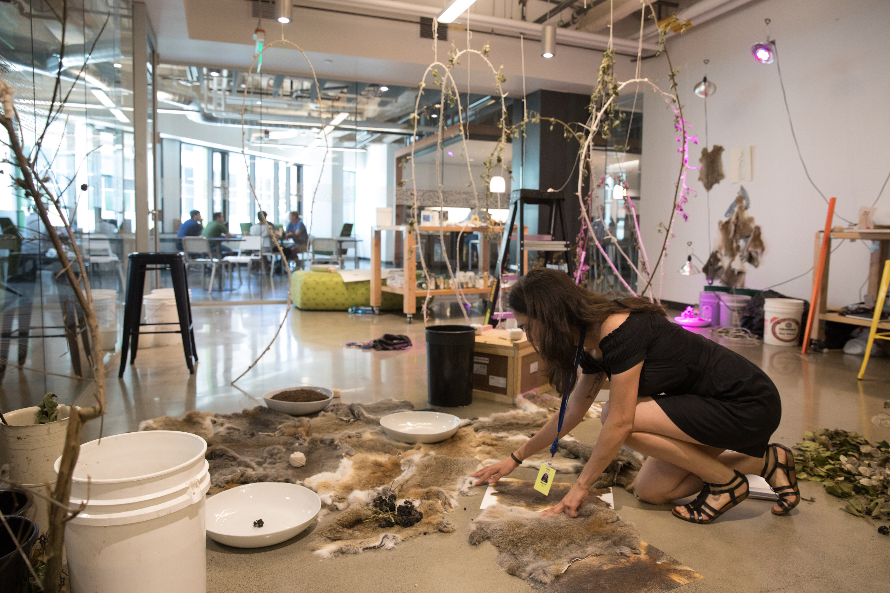 Visual artist and an Amazon artist-in-residence Markel Uriu within the Amazon Expressions lab at Amazon Headquarters in Seattle, June 18, 2018.