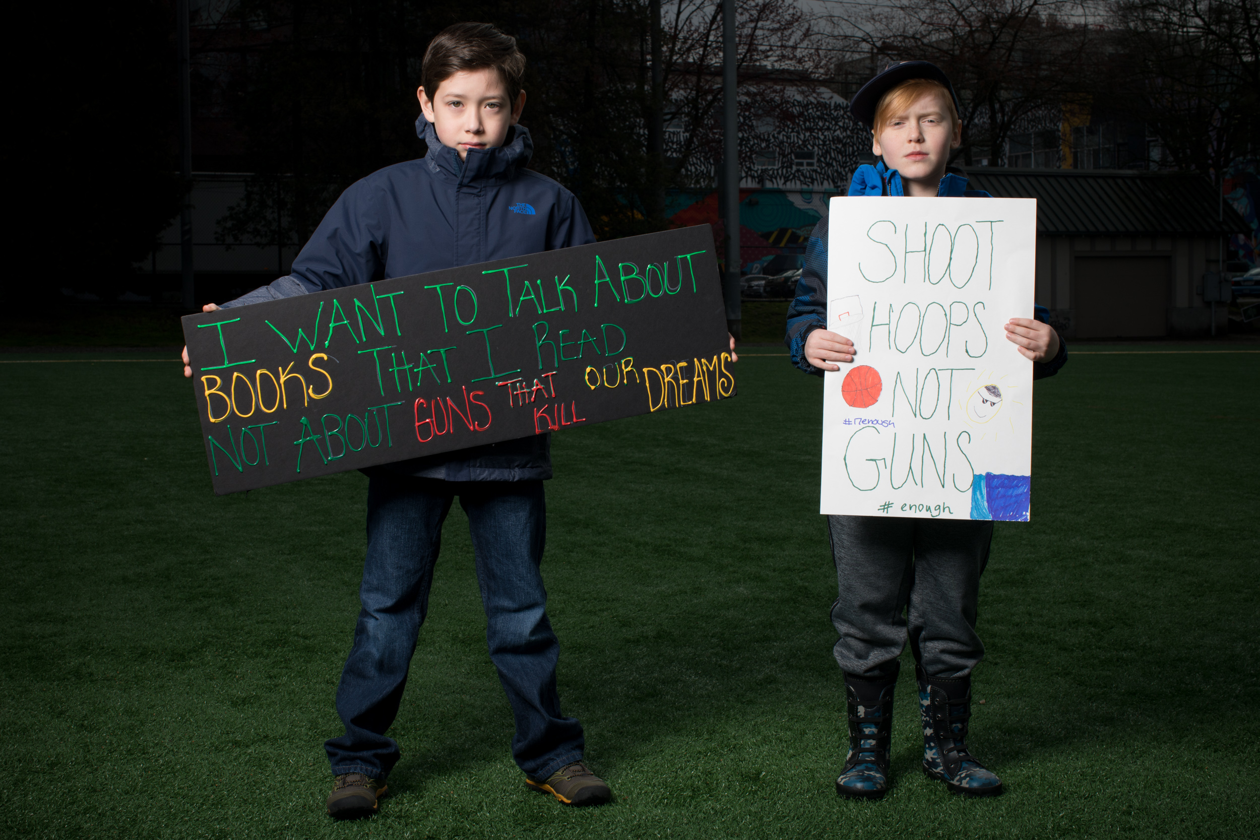 Diego Villegas, 8, and Kai Mumma, 8, both of Bellevue