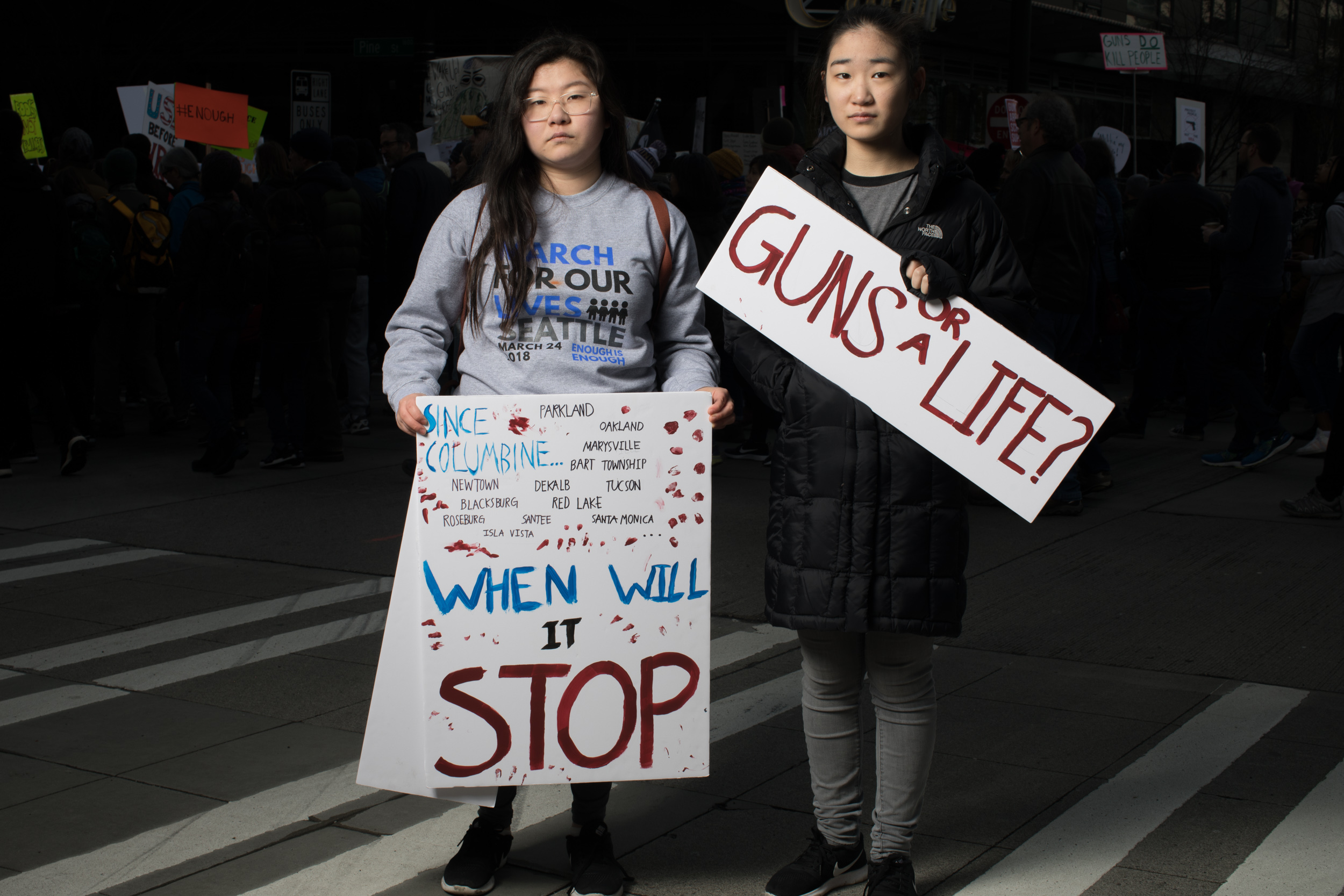 Deborah Kwon, 16, and Kaylin Jeon, 17, both of Bellevue