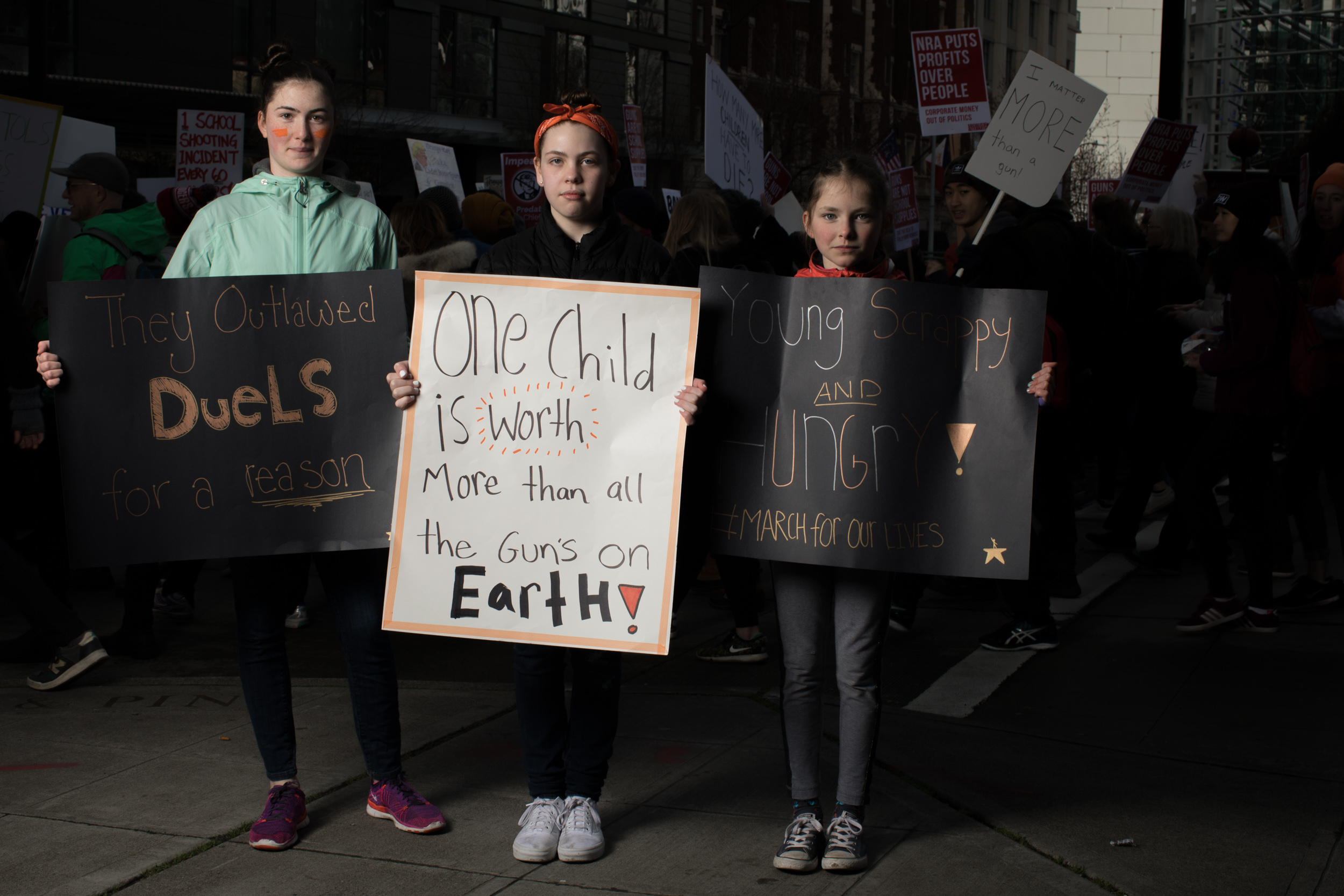 Molly O'Mara, 12, Riley Samuels, 12, and Abigail O'Mara, 9, all of Mercer Island