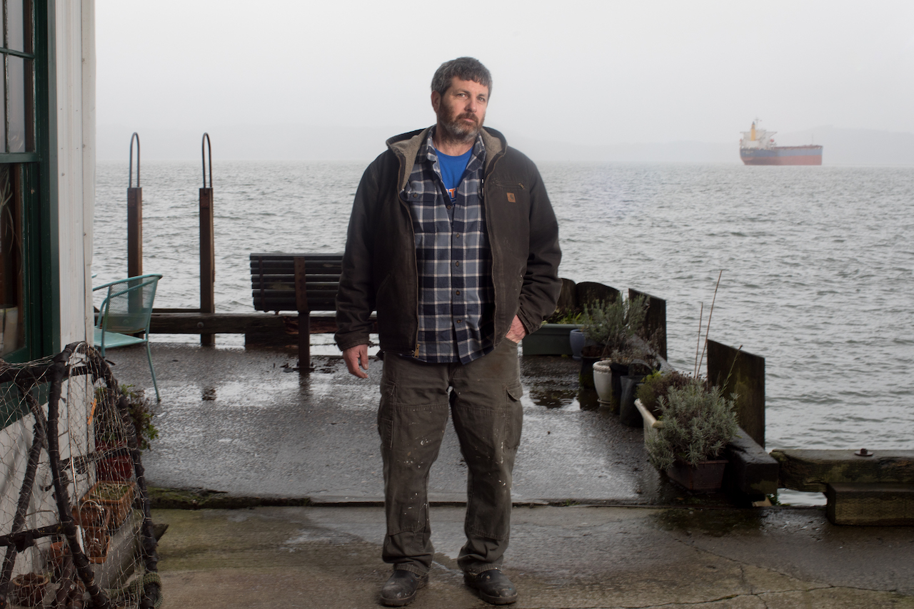 Rob Seitz on his fishing boat South Bay Wild at the Warrenton Marina near Astoria.