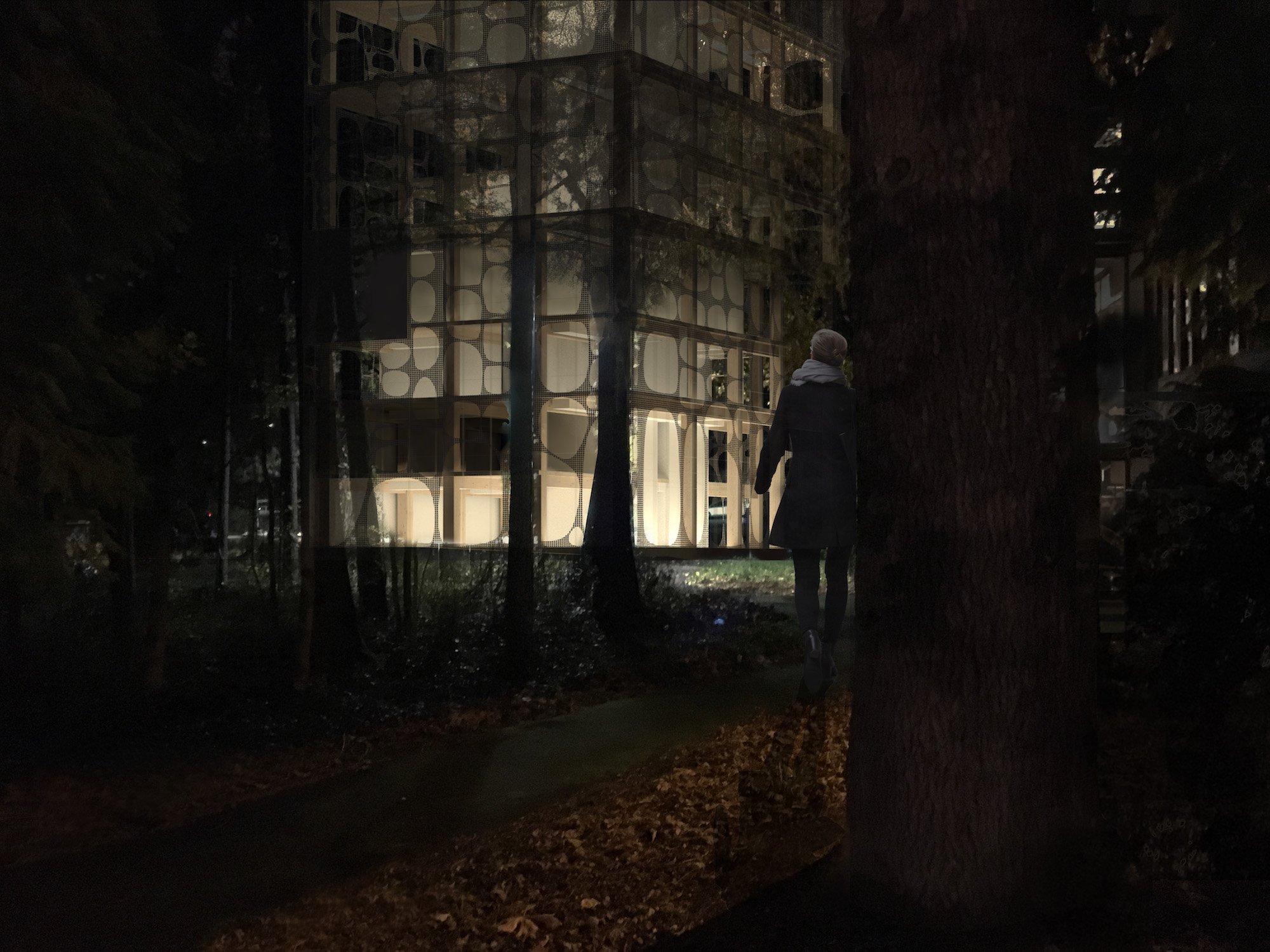 A rendering of the UW Center for Wood Innovation at night (Rendering by Madeleine Black)