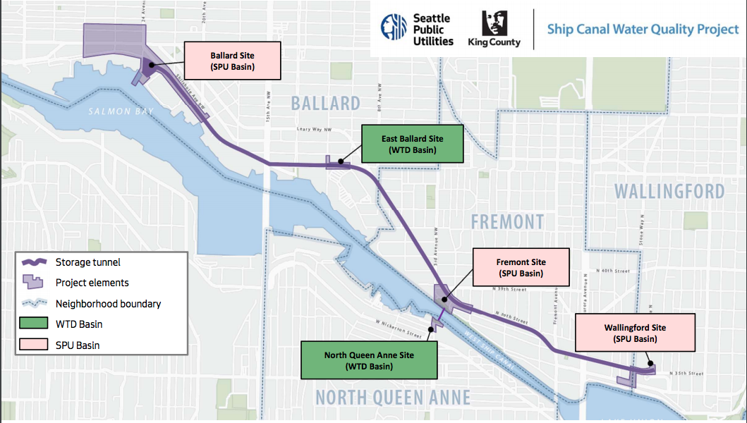 The new tunnel will prevent 82 million gallons of sewage from spilling into the ship canal and Lake Union. (Source: Seattle Public Utilities)