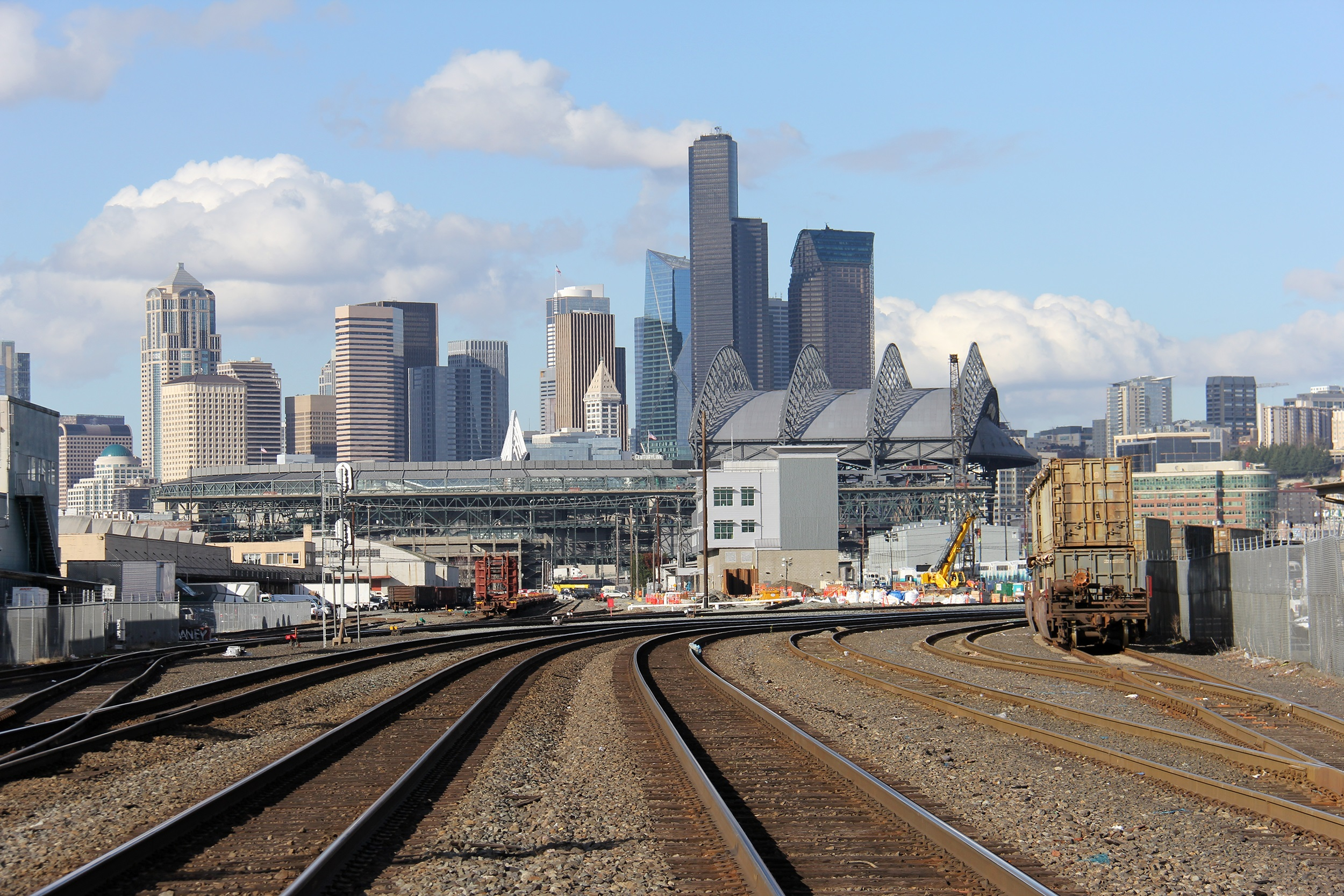 A view of Seattle's downtown as seen from railroad tracks that run south through the SODO neighborhood off South Lander Street.