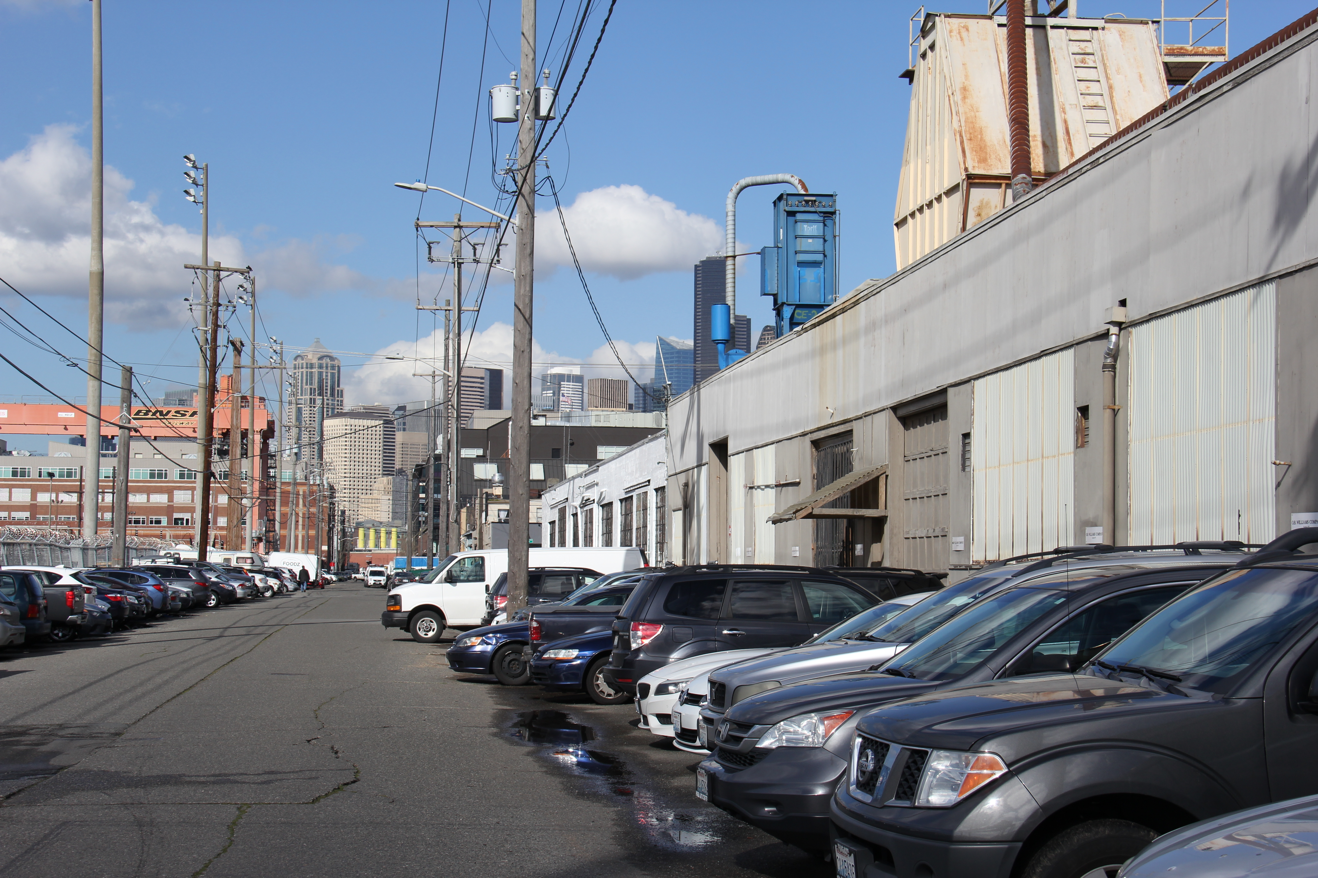 Parked cars pack the rights of way off Utah Avenue, south of Holgate Street, in Seattle's SODO neighborhood