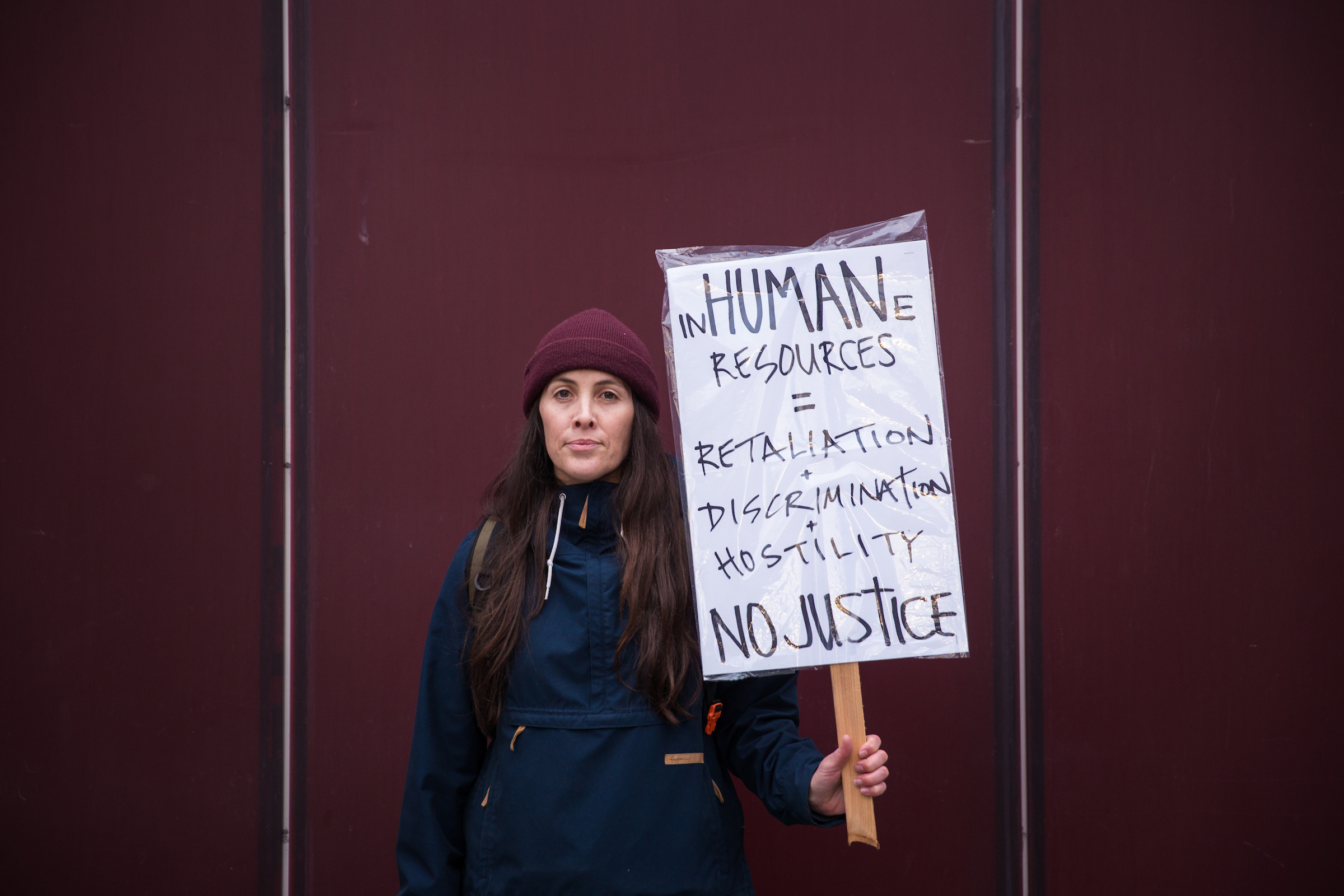 Beth Rocha, a Seattle City Light employee who has been outspoken about HR responses to her complaints of harassment, poses for a portrait during a Seattle Silence Breakers rally at Seattle City Hall Plaza on Feb. 14, 2018. Rocha presented her frustrations to the Seattle City Council Thursday.