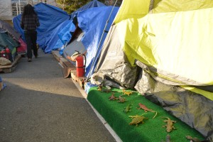 Tent City man walking