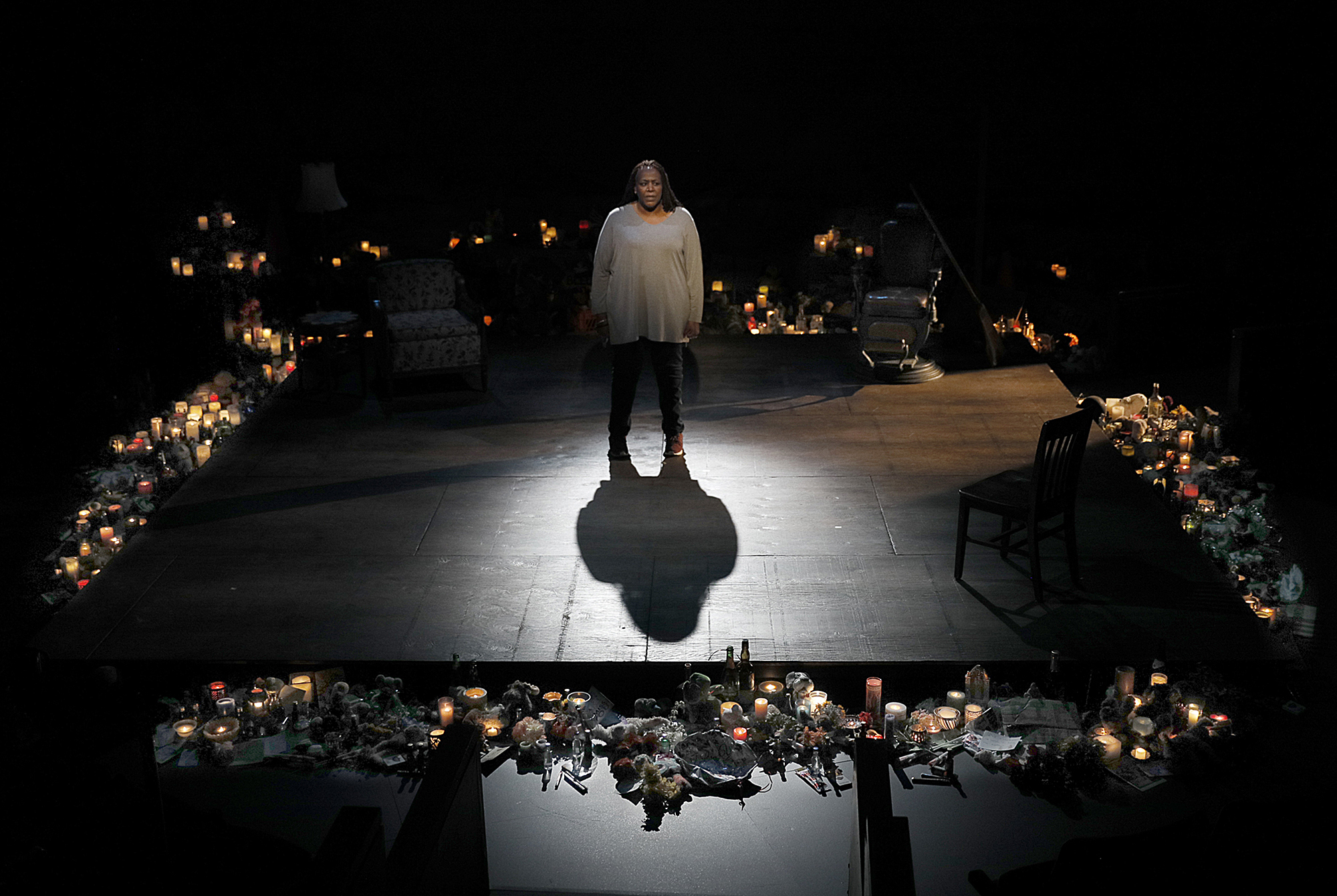 Dael Orlandersmith performing in Until the Flood at ACT Theatre