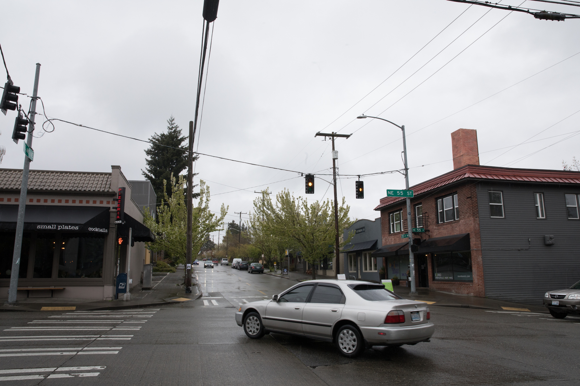 The intersection of 35th Avenue NE and NE 55th Street, looking north on 35th (Photo by Matt M. McKnight/Crosscut)