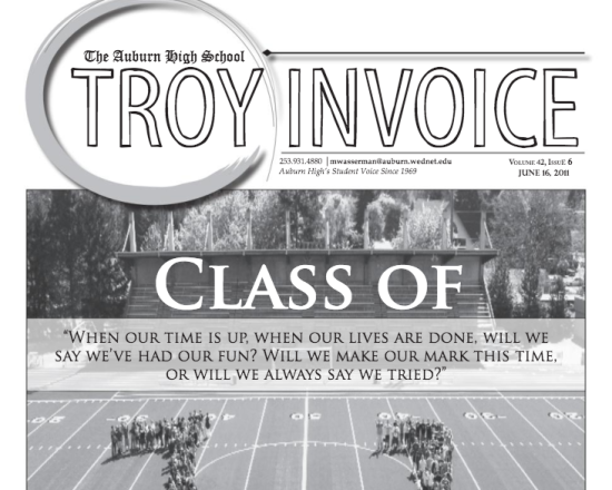 A 2011 edition of Auburn High School's newspaper the Troy In Voice.