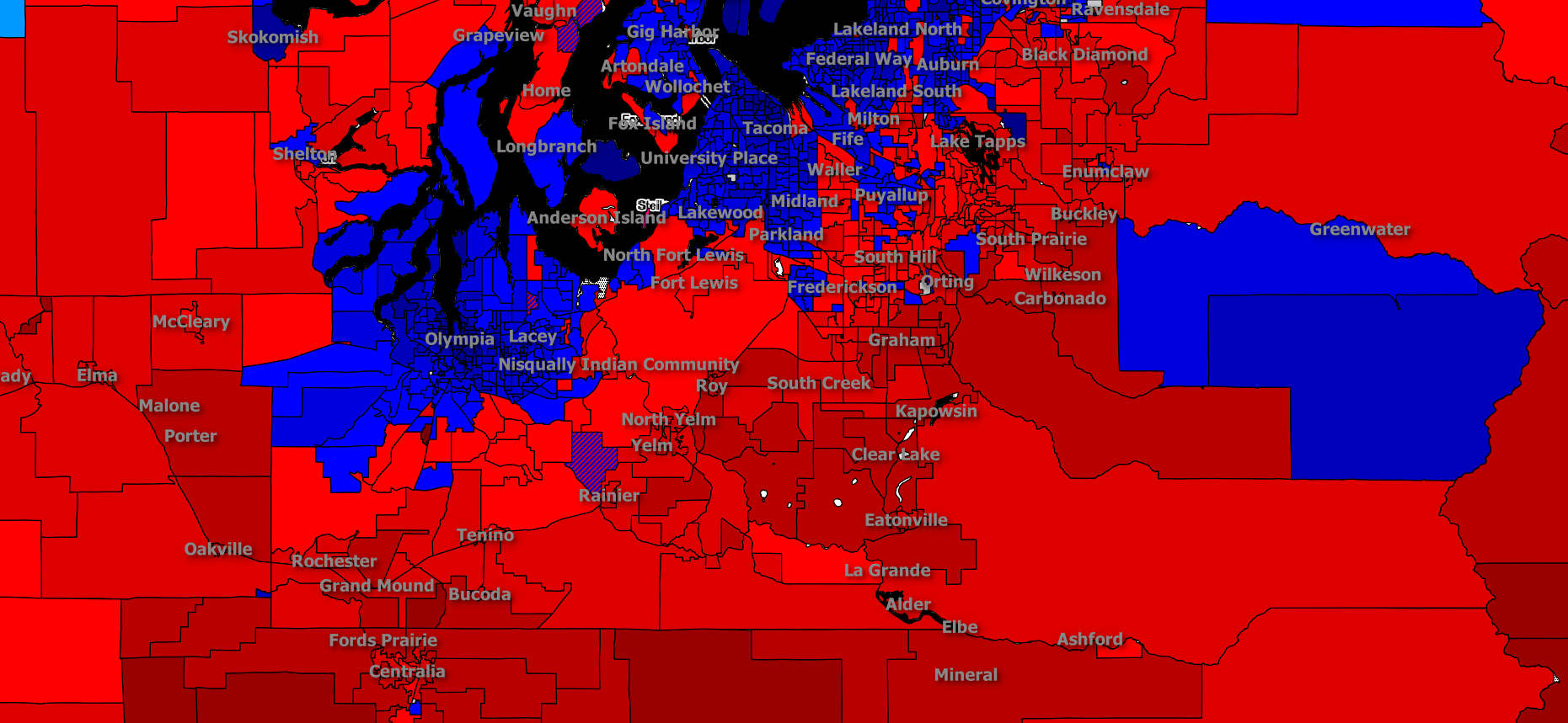 Seattle Political Map.Puget Sound Really Is A Political Bubble And It S Getting Worse