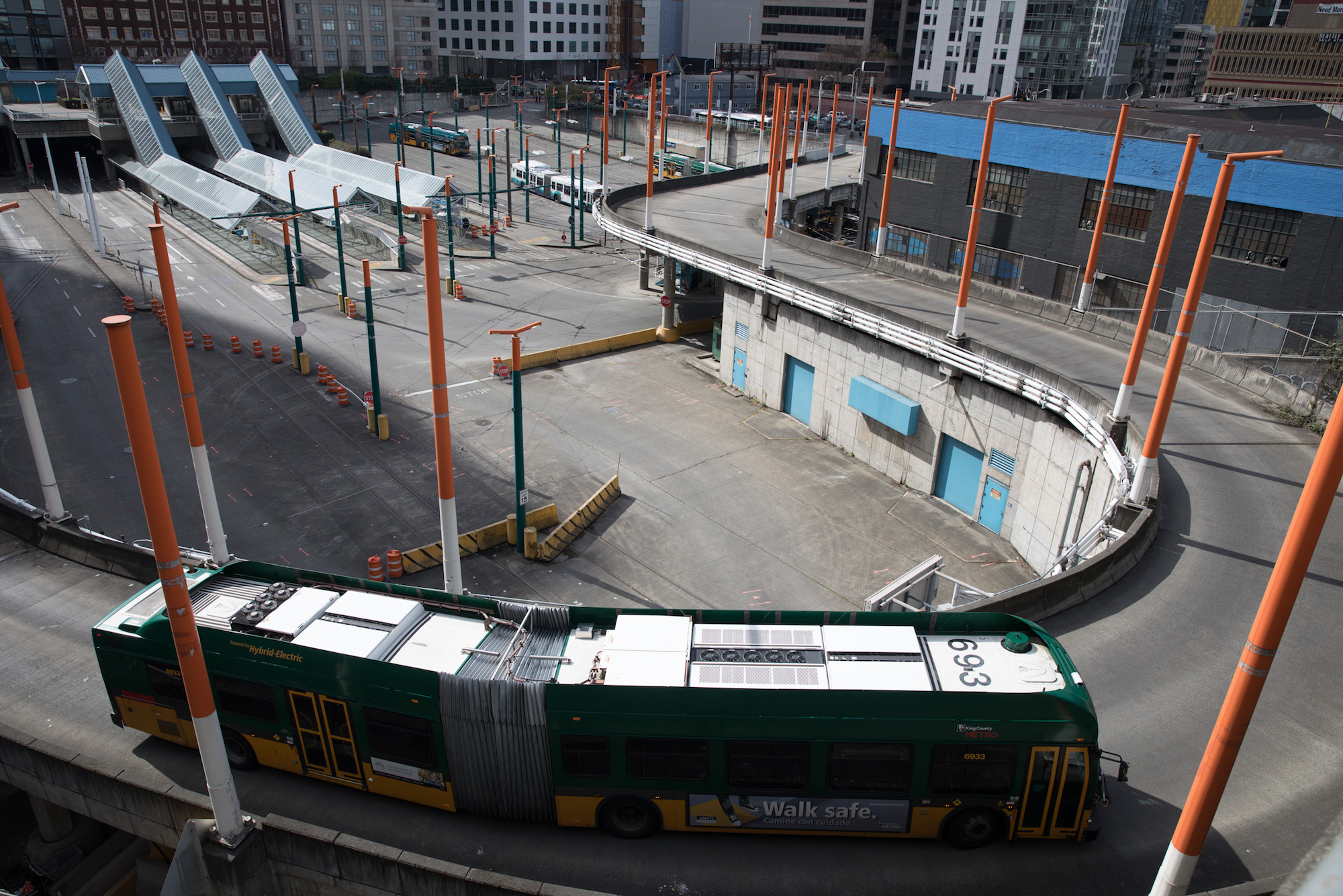 The expanded Washington State Convention Center overlooks the transit connections at the north end of the downtown transit tunnel. (Photo by Matt M. McKnight/Crosscut)