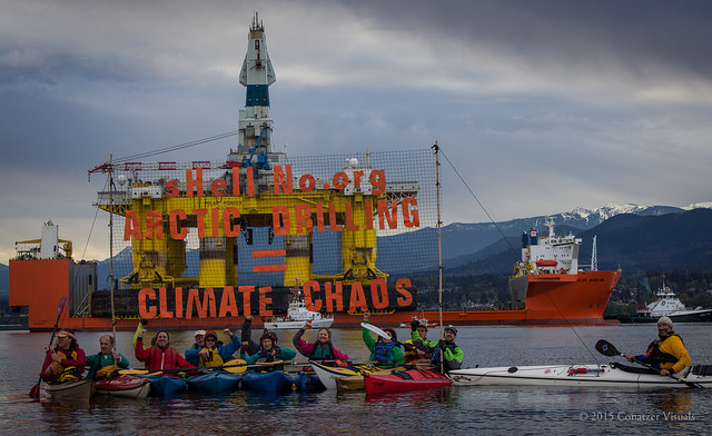 Kayaktivists from the sHellNo! Action Council greeted Shell's Arctic Destroyer in the Port Angeles in 2015.