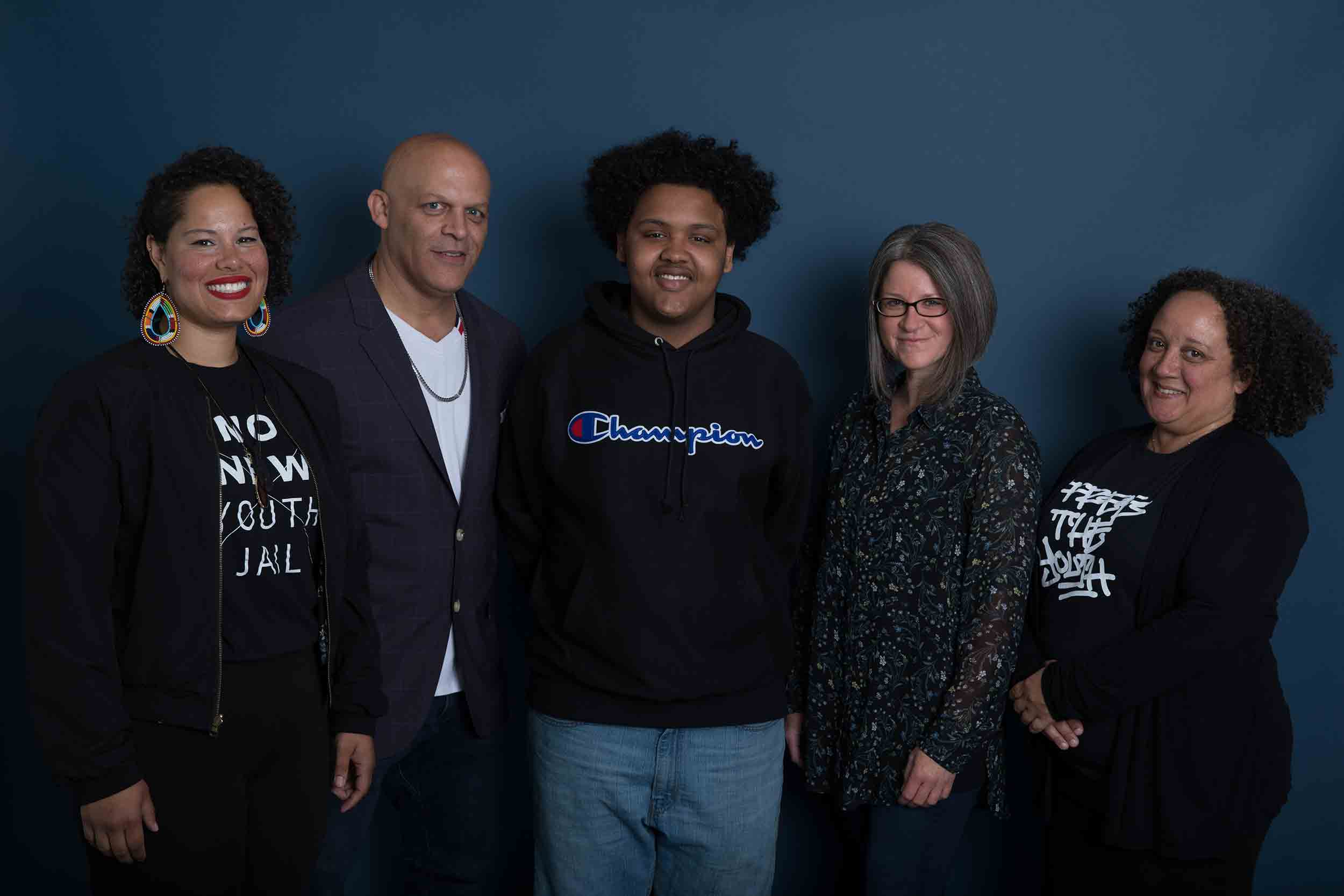 Among the five Crosscut Courage Awards winners is Creative Justice, an organization recognized in the Courage in Culture category. From left to right: Nikkita Oliver, Aaron Counts, Kardea Buss, Jordan Howland, and Heidi Jackson of Creative Justice. (Photo by Matt M. McKnight/Crosscut)