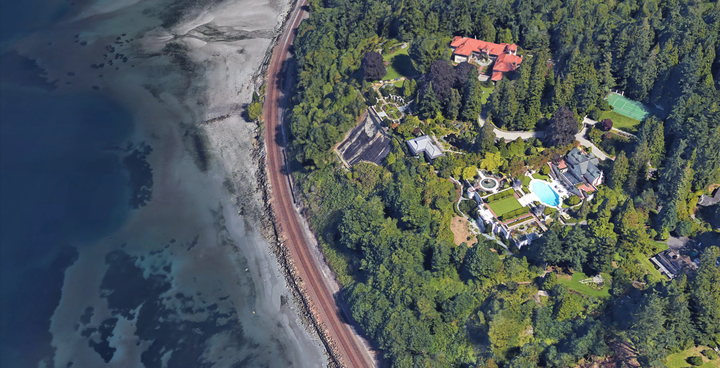 Satellite view of Chris Larson's properties, on the upper left and center, whose valuations he appealed.