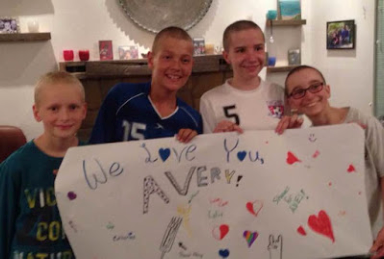 Several of Avery's friend's shaved their heads when the radiation treatment caused her hair to start falling out.