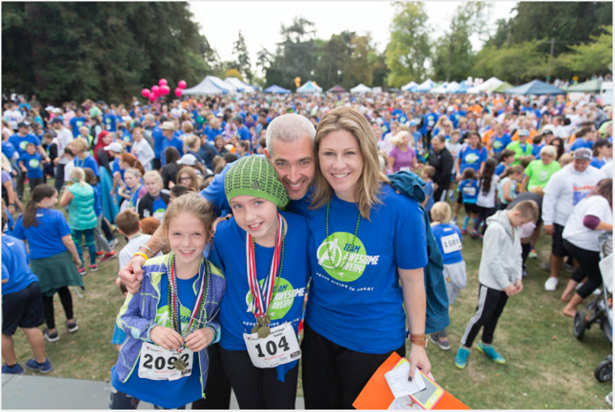 Avery and her family at the 2016 Run of Hope. Team Awesome Avery raised $70,000 for Seattle Children's Hospital.