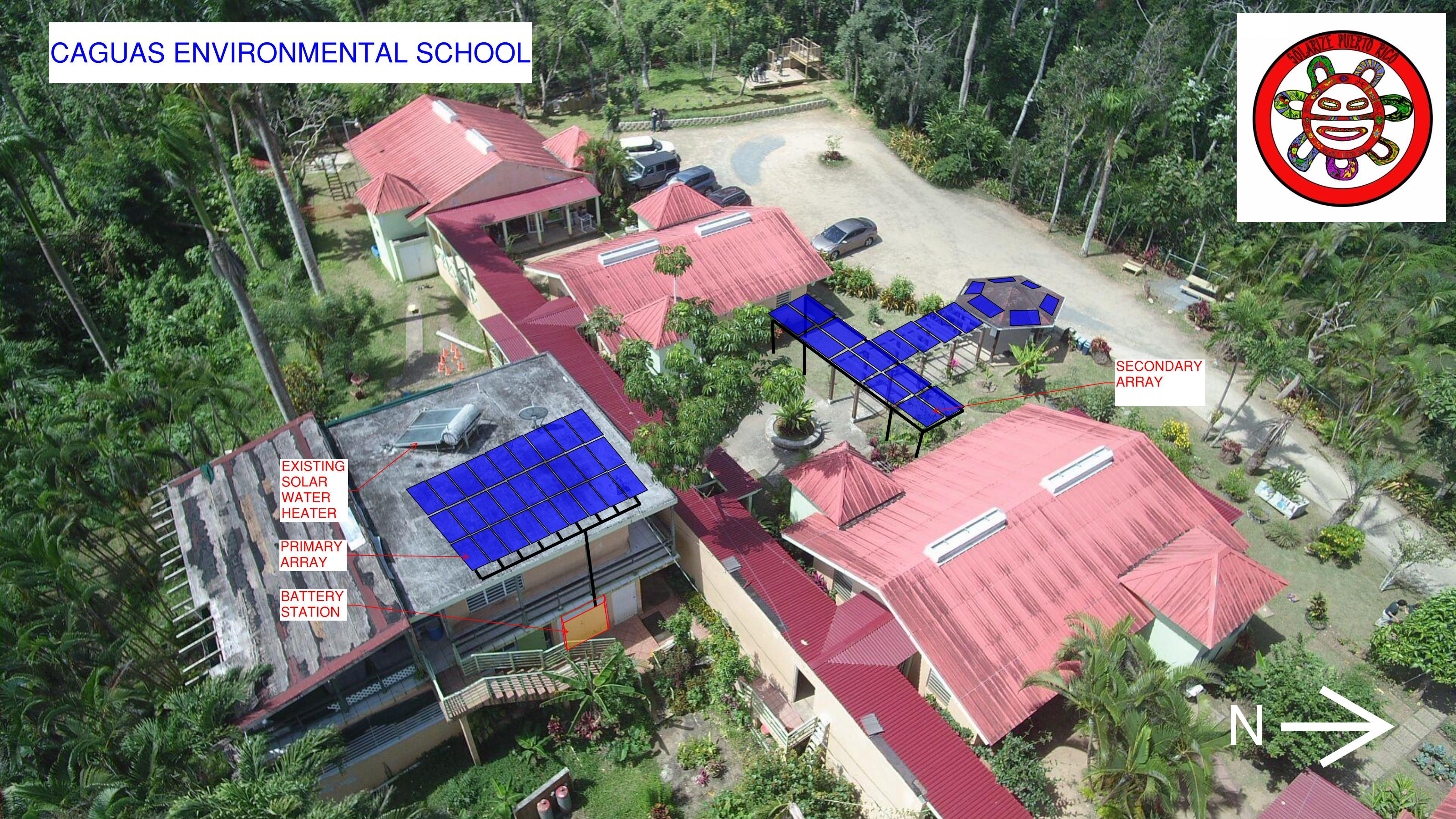 A rendering showing where the solar panels will be located on the school's roof.