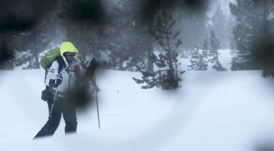 Carla Danley skis through the snow, en route to a backcountry hut.  OPB