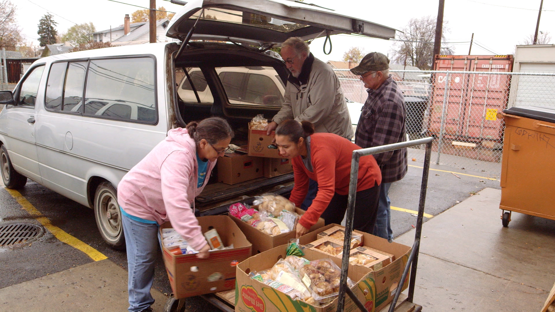 Volunteers unloading a truck at Toppenish Food Bank