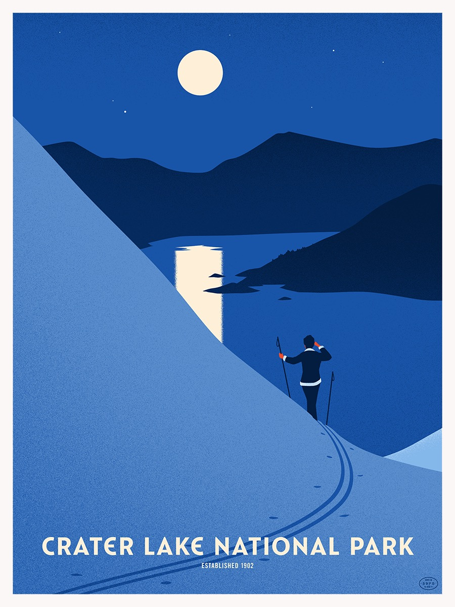 National Park Poster of Crater Lake by Thomas Danthony