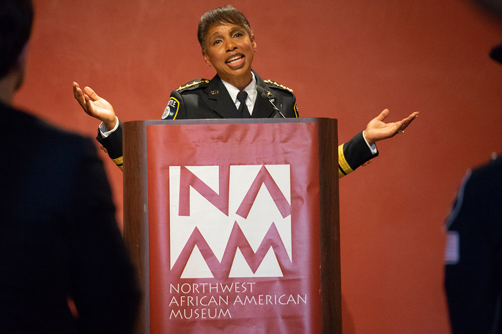 Newly sworn-in, Chief Best addresses the crowd at the Northwest African American Museum.