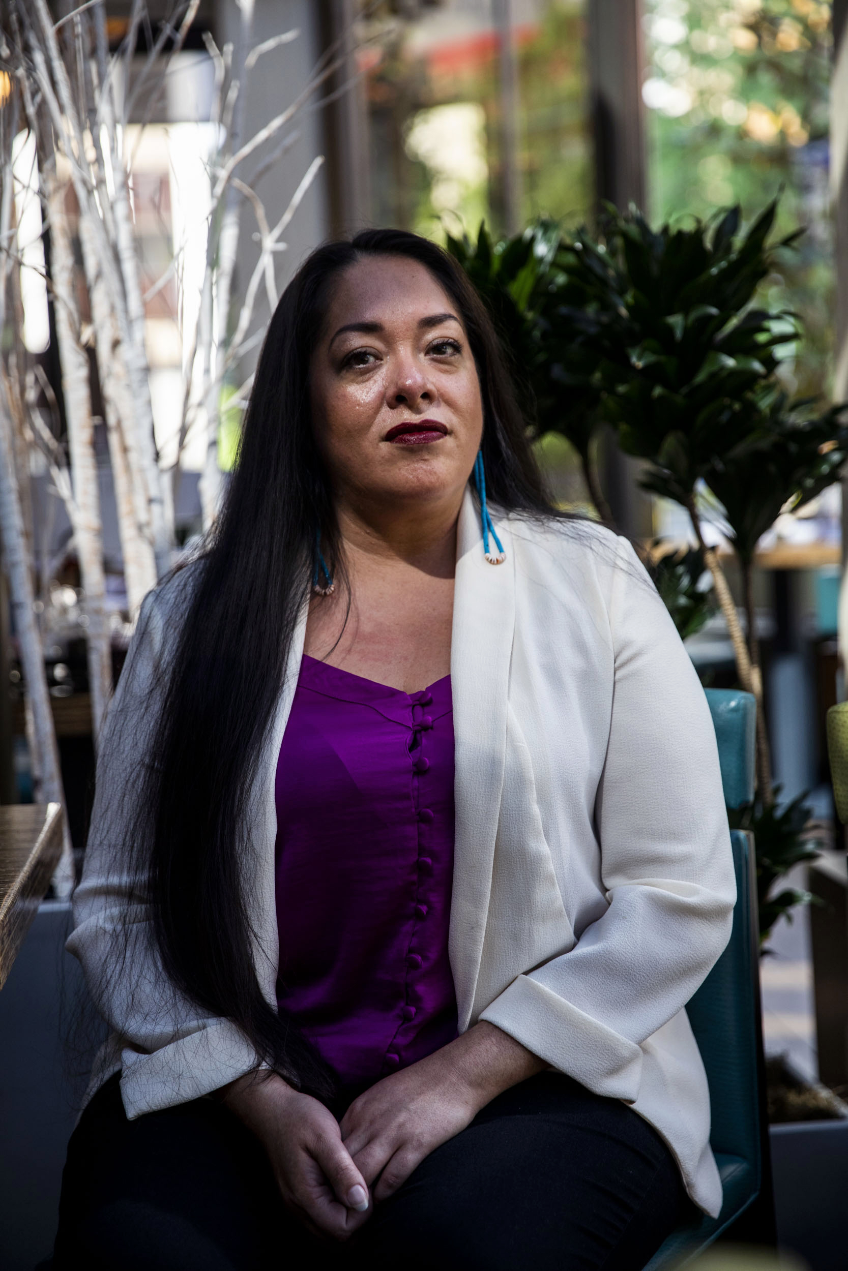 Abigail Echo-Hawk at the Westin in Seattle on May 29, 2019. Echo-Hawk is the chief research officer for the Seattle Indian Health Board and the director of the Urban Indian Health Institute. (Photo by Dorothy Edwards/Crosscut)