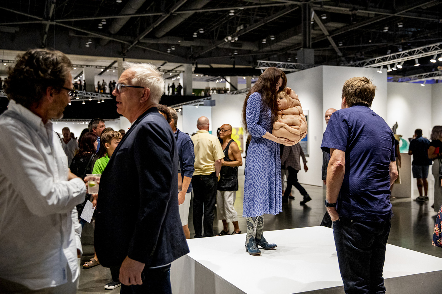 """The Bond and The Loafers"" by Patricia Piccinini during the Seattle Art Fair at CenturyLink Field Event Center on Aug. 1, 2019."