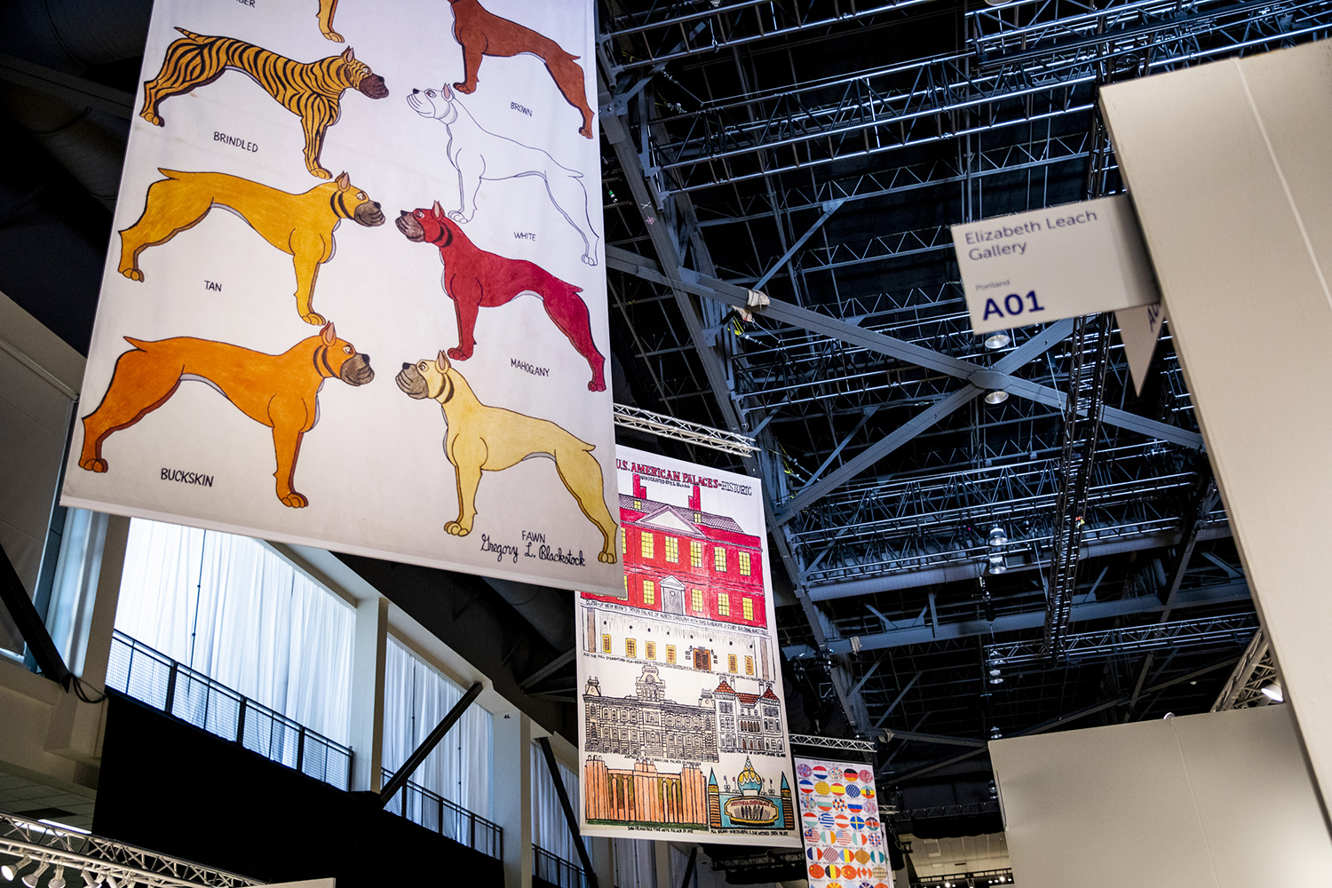 Banners by Gregory Blackstock during the Seattle Art Fair at CenturyLink Field Event Center on Aug. 1, 2019.