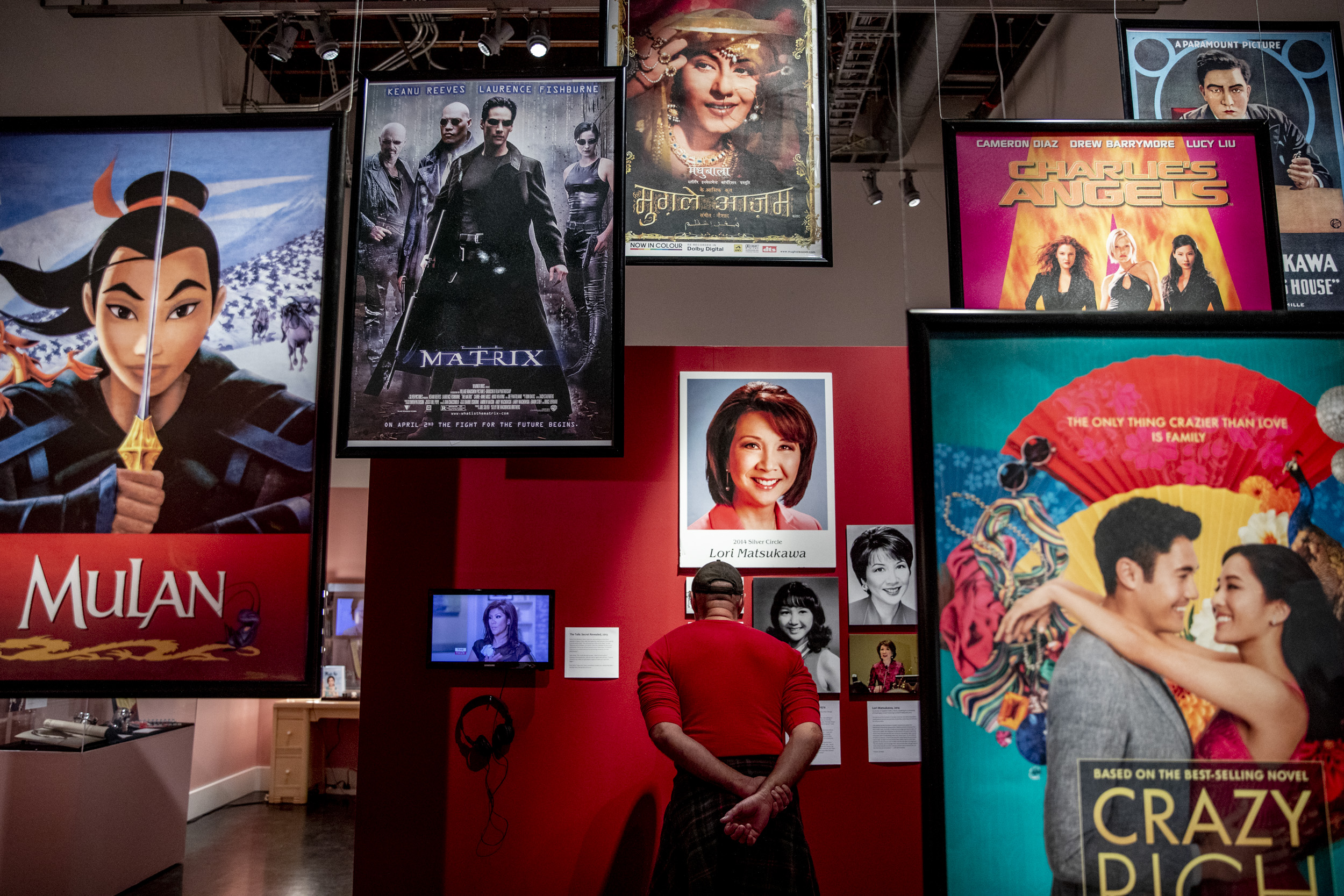 Movie posters hang from the ceiling