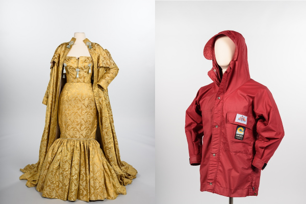 A gold gown and red gore-tex jacket
