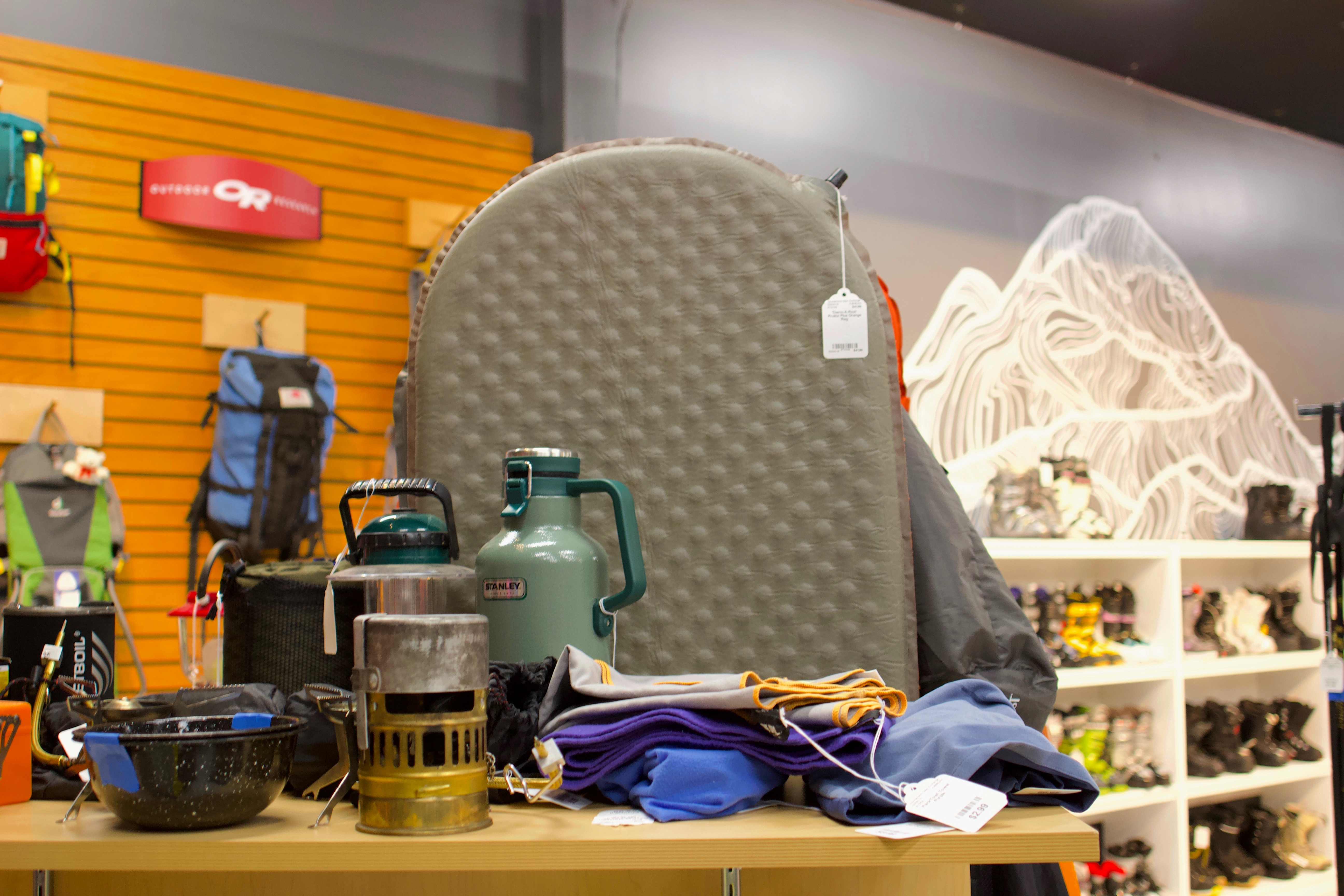 A selection of used camping gear available at Wonderland Gear Exchange in Seattle's Ballard neighborhood.