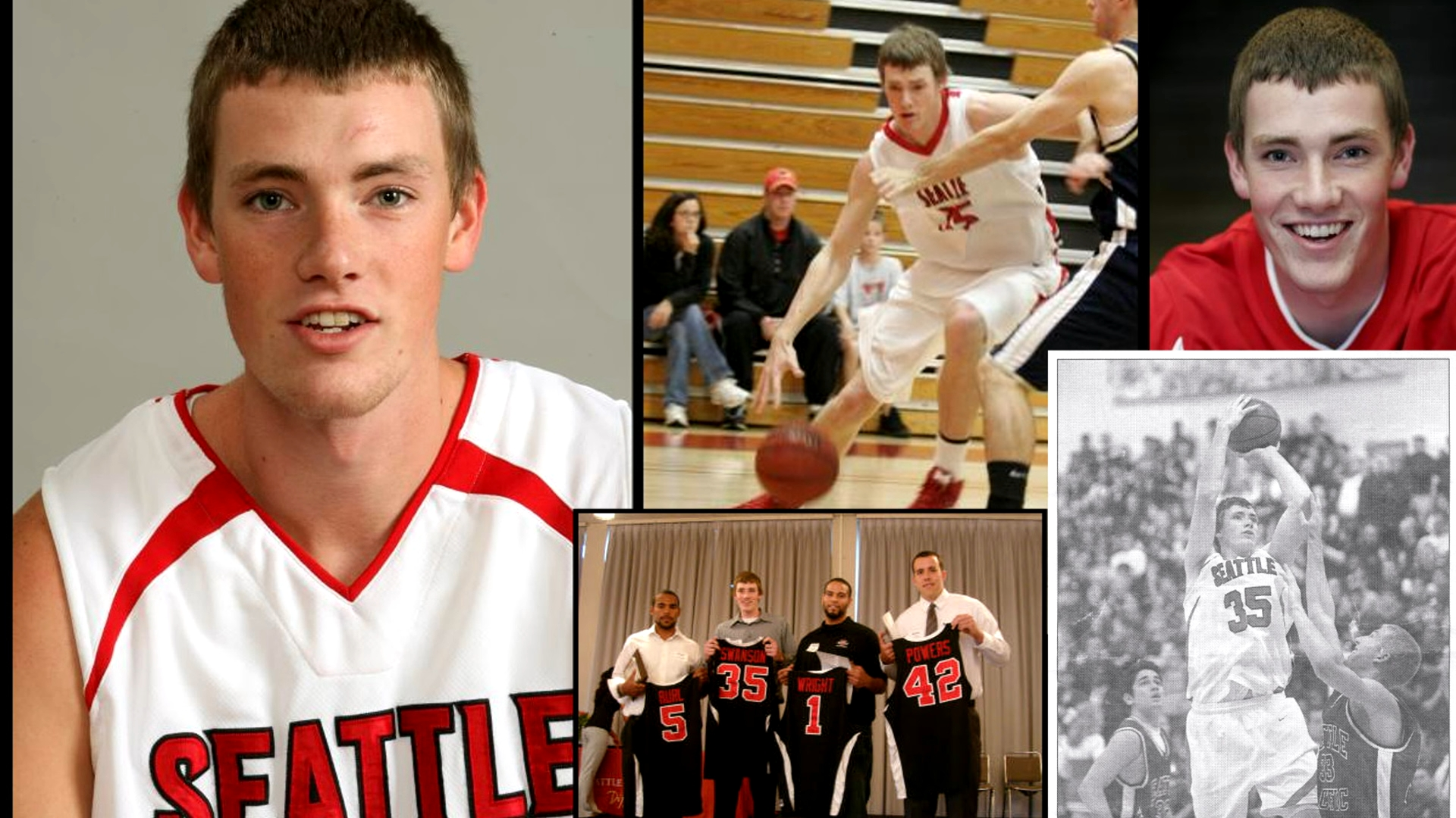 College of pictures highlighting Leigh's basketball accomplishments