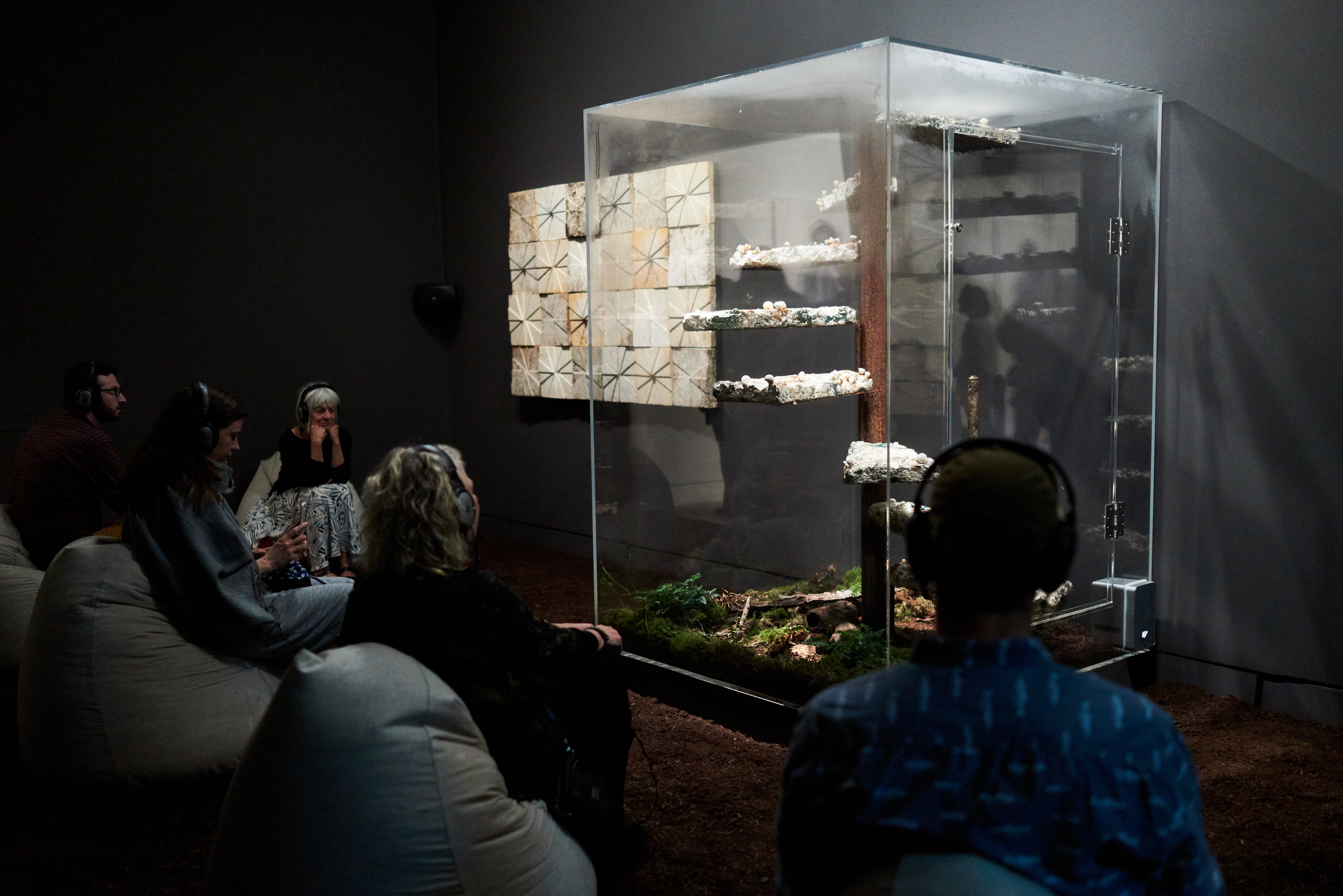 "Frye Art Museum visitors spending time with Marcos Lutyens' ""Library of Babel, a Symbiont Induction""  PHOTO CREDIT: Jonathan Vanderweit"
