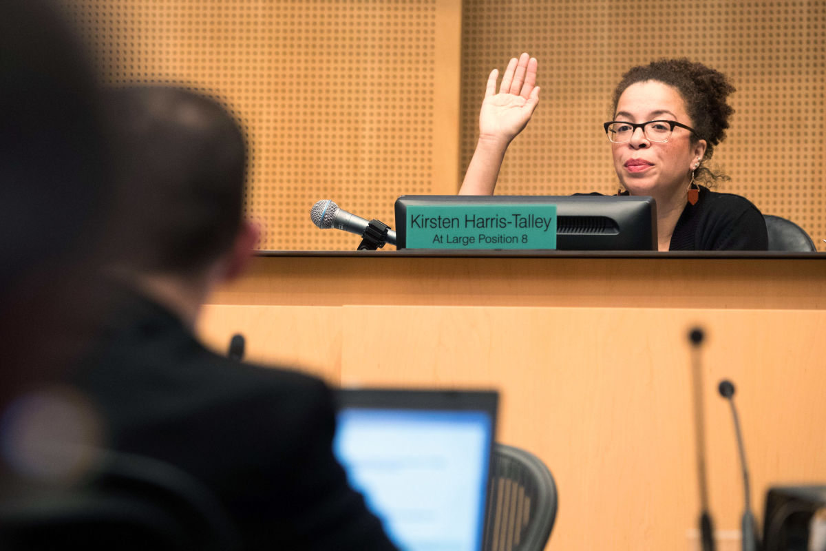 Harris-Talley raises her hand and votes to pass the city's 2018 budget.