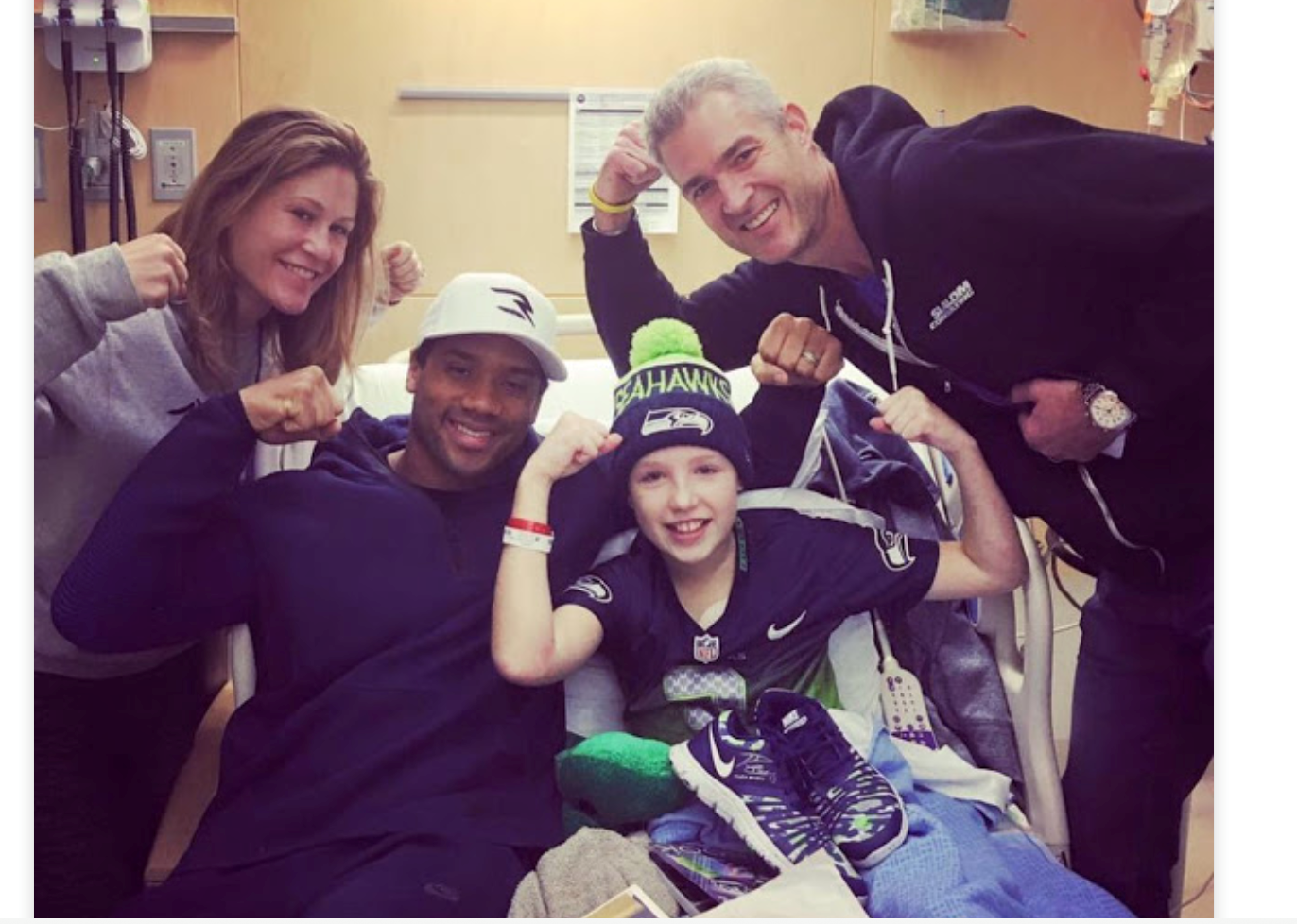 While in the hospital, Avery received a visit from Seahawks quarterback Russell Wilson.