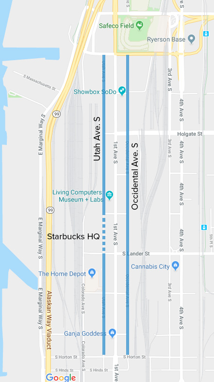 A Google map highlighting Occidental and Utah avenues in Seattle's SODO neighborhood.