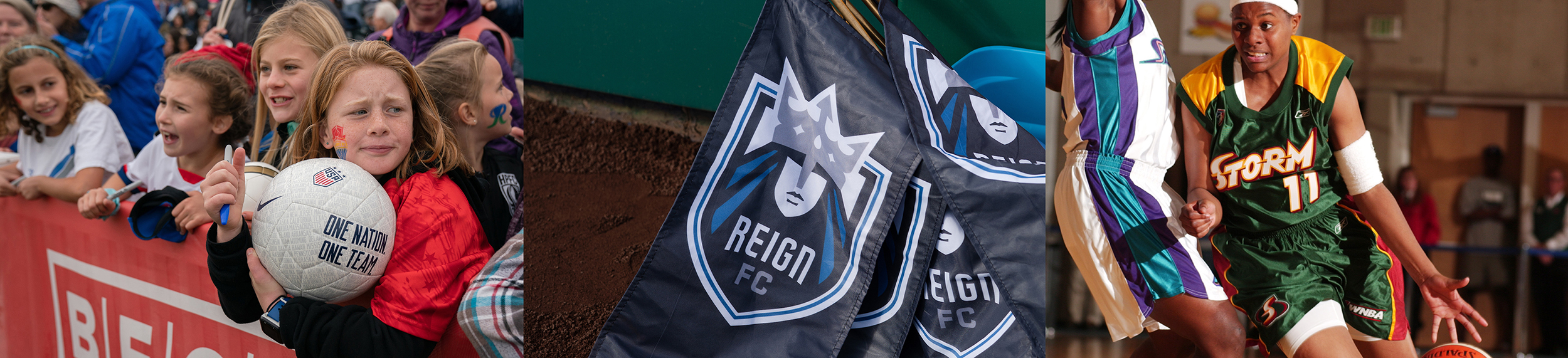 Triptych featuring soccer fans, a Reign banner and a Storm player