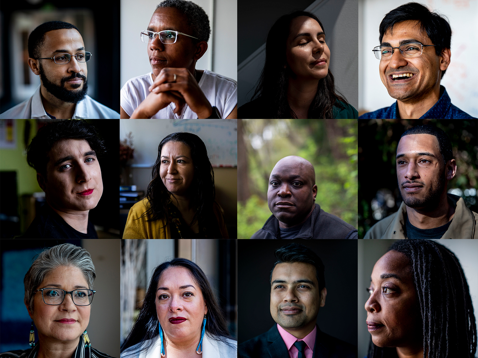 "Crosscut's ""I Am STEM"" profiles included, left to right, starting from top row, Eric Nealy, Crystal C. Hall, Corrie Ortega, Rahul Banerjee, Os Keyes, Tracie Delgado, Morris Johnson, Clint Robins, Maia Bellon, Abigail Echo-Hawk, Bish Paul and Tarika Powell (Photo by Dorothy Edwards/Crosscut)."