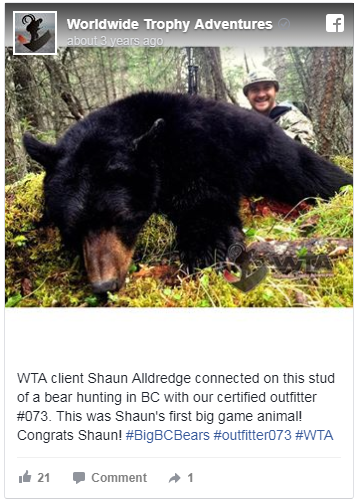 Legend Solar co-owner Shaun Alldredge poses on a trophy hunting trip to Canada. Several former Legend Solar staff members said employees took issue with the owners' travel.