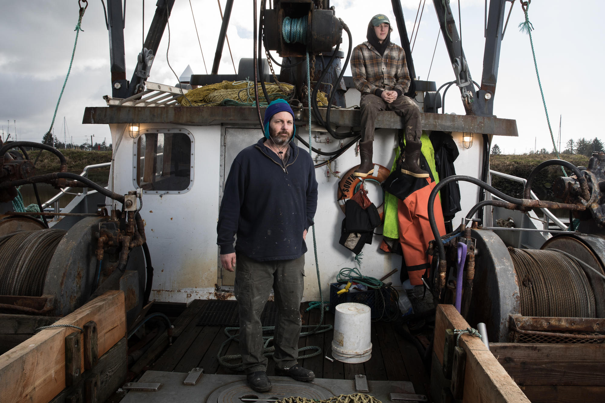 Rob Seitz and son, James, of fishing boat South Bay at the Warrenton Marina near Astoria. (All photos by Matt M. McKnight/Crosscut)