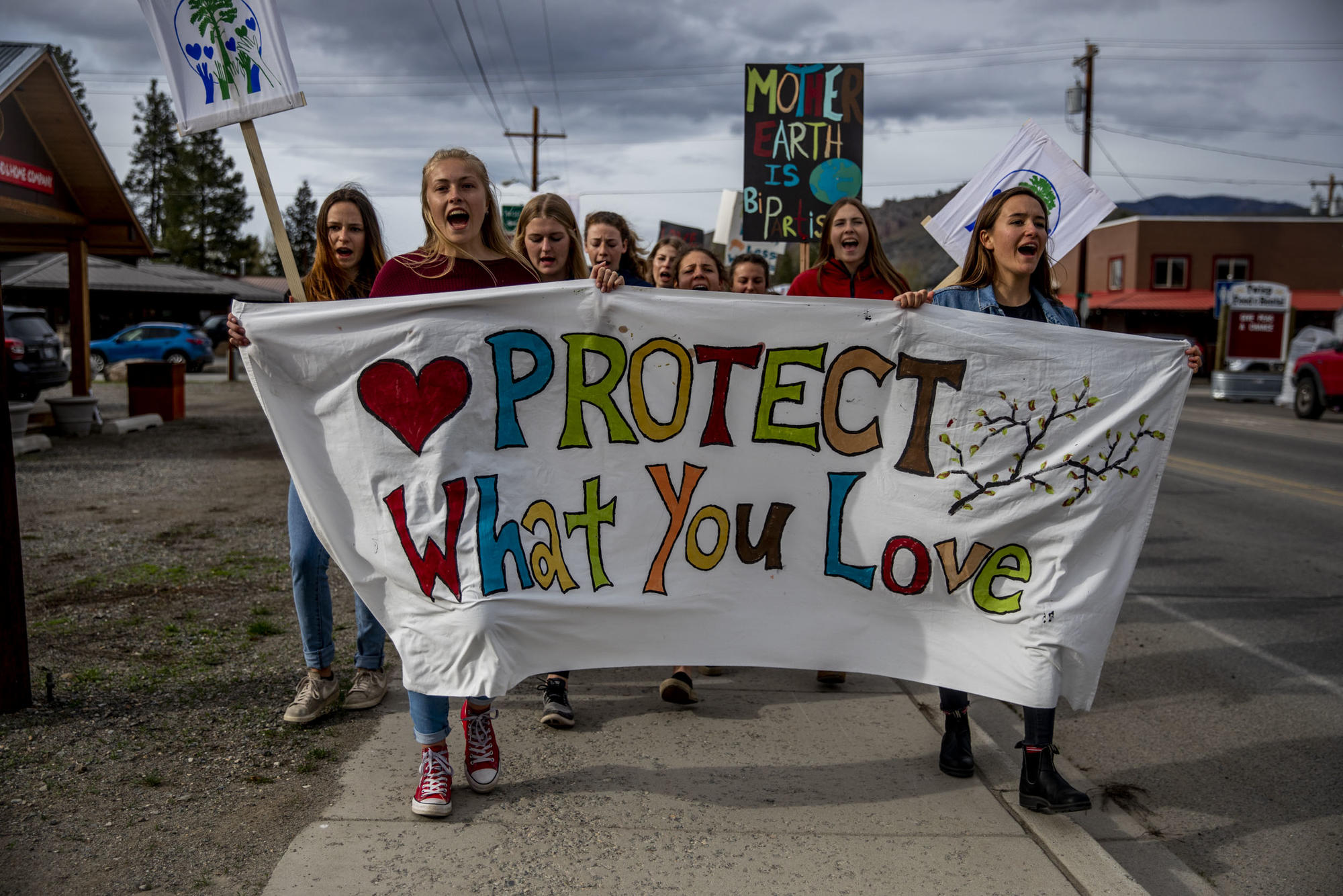 Students leading climate march